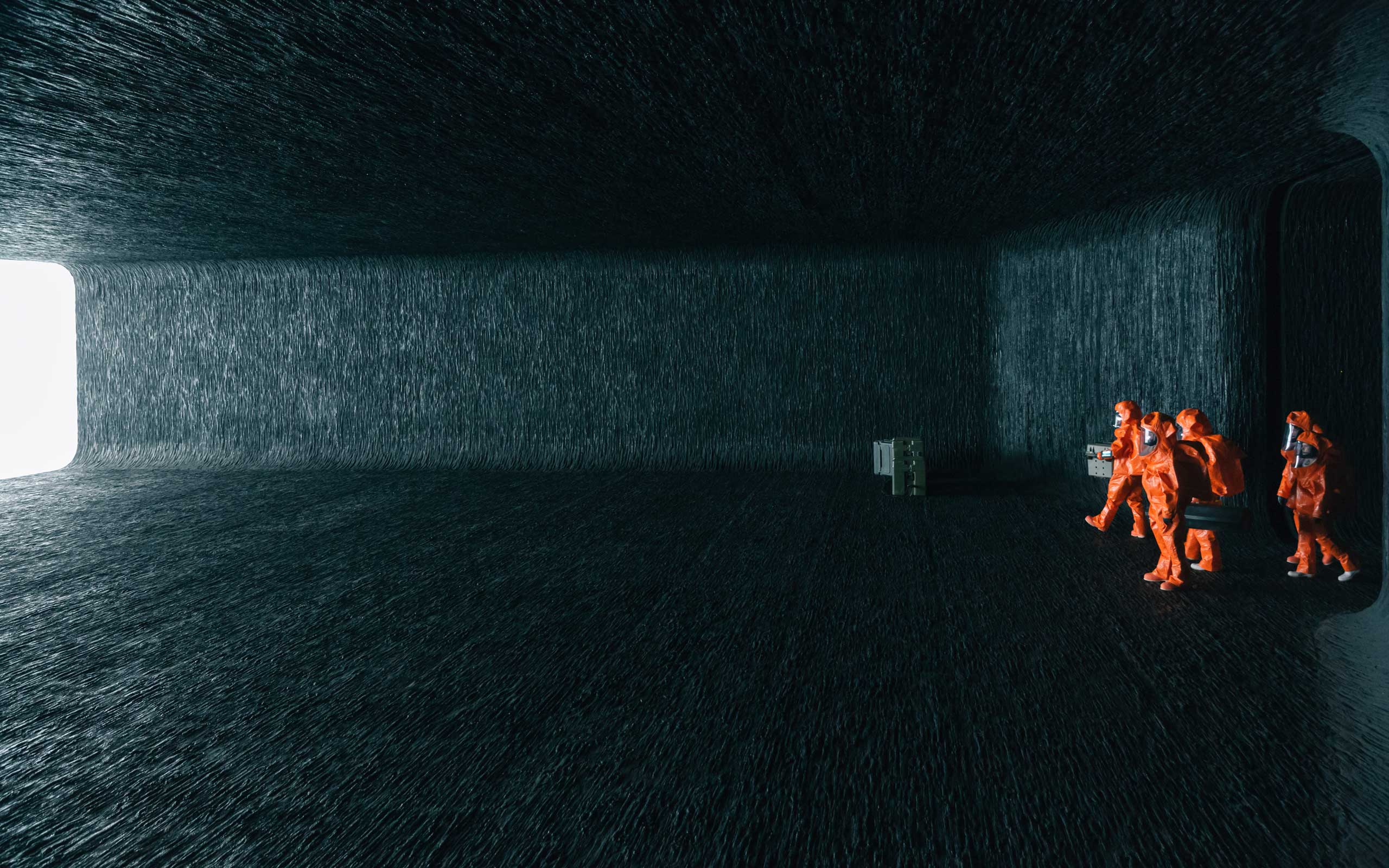 A scene inside the spaceship's chamber from the film  Arrival  by Paramount Pictures