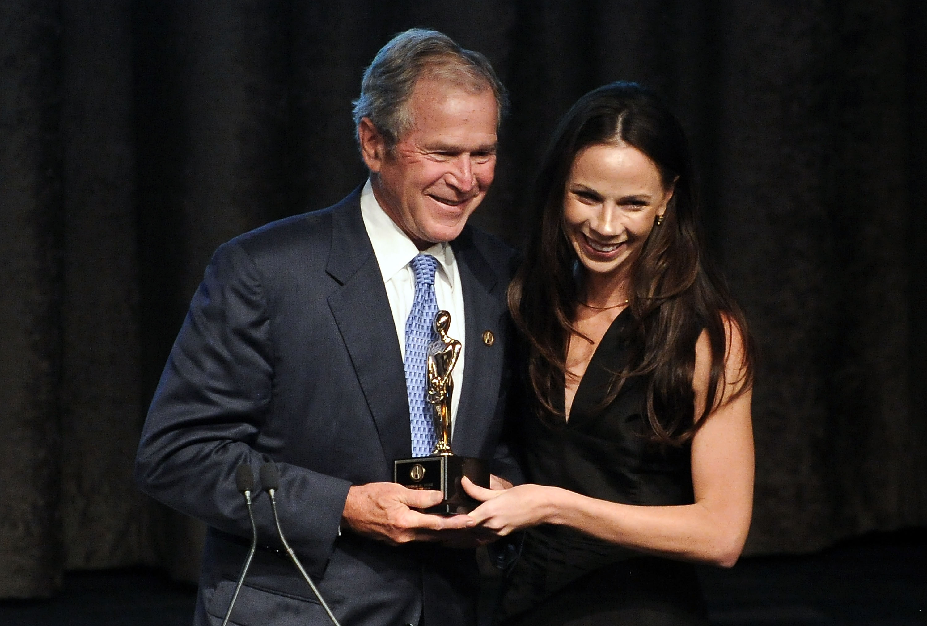 NEW YORK, NY - JUNE 18:  Former President of the United States George W. Bush and daughter Barbara Bush attend the 2015 Father Of The Year Luncheon Awards at New York Hilton on June 18, 2015 in New York City.  (Photo by Daniel Zuchnik/WireImage)