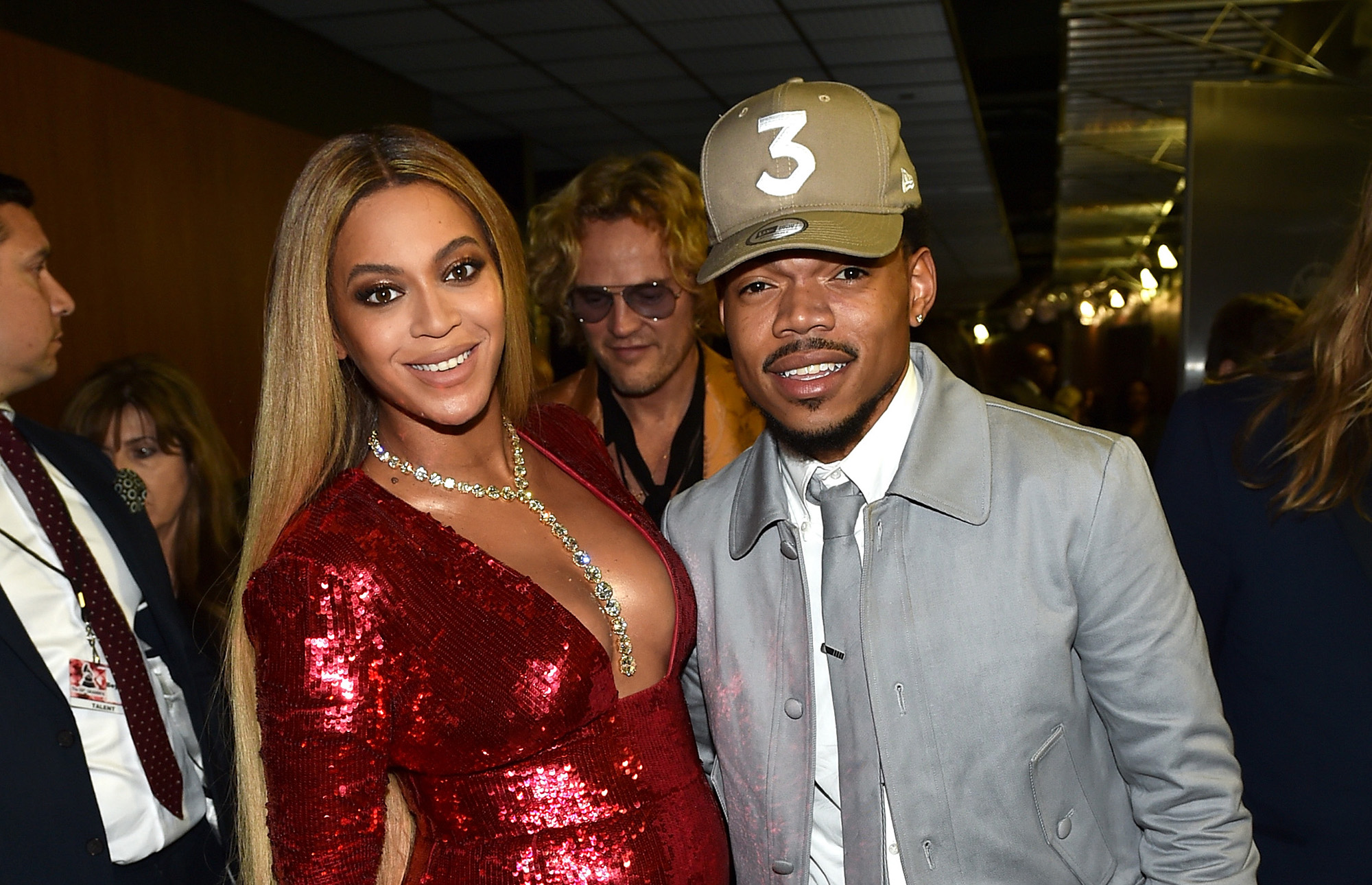 Beyonce (L) and Chance the Rapper attend The 59th GRAMMY Awards at STAPLES Center on February 12, 2017 in Los Angeles, California.