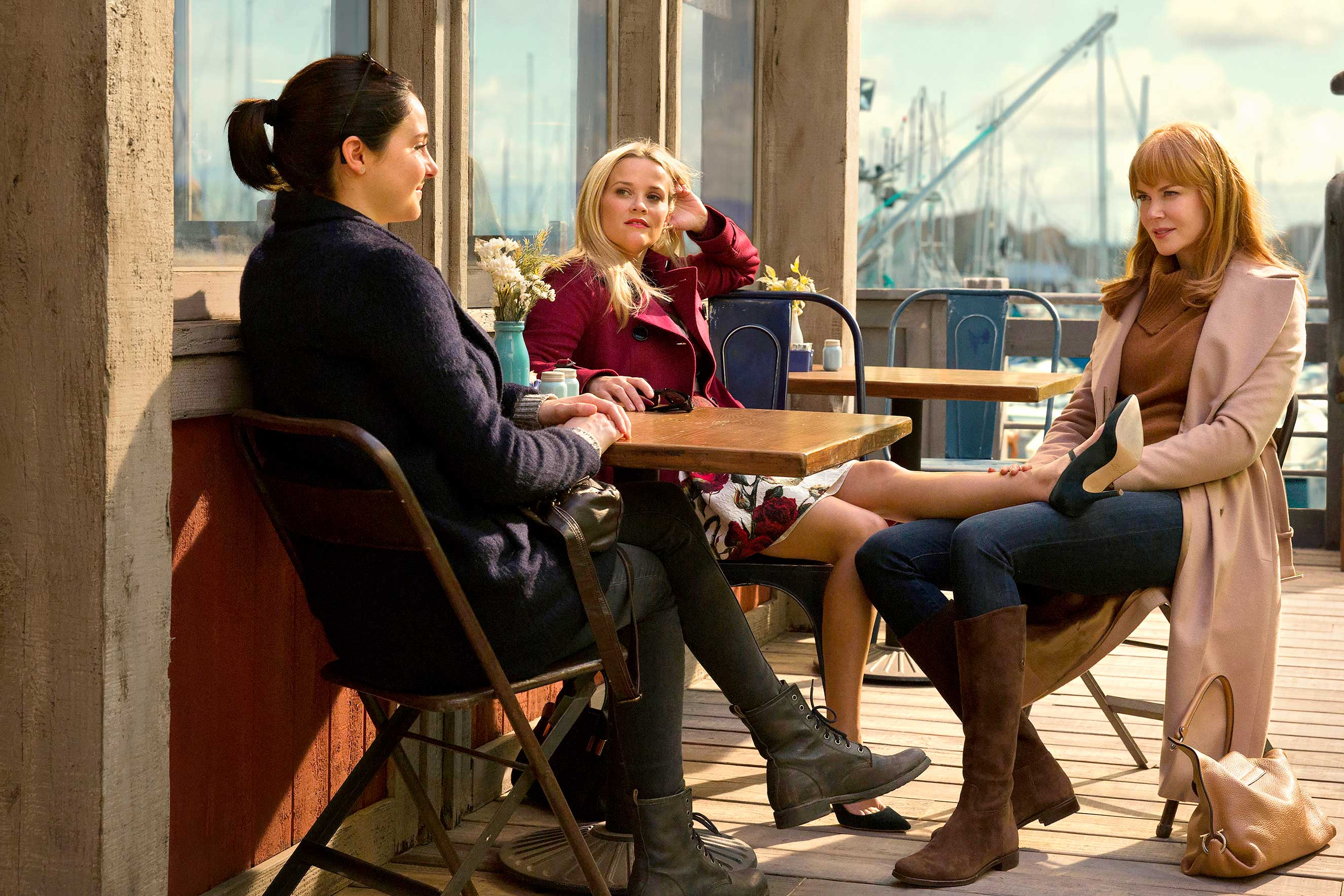 Woodley, Witherspoon and Kidman play women trying to open up to one another on Big Little Lies