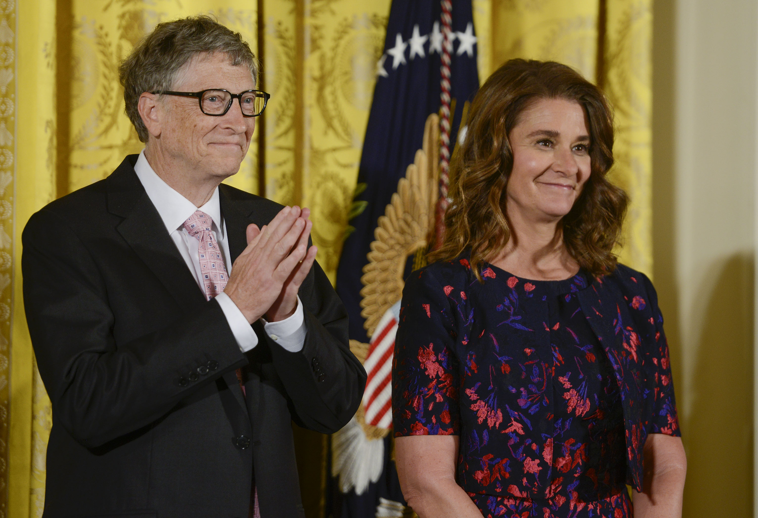 Bill and Melinda Gates are presented with the 2016 Presidential Medal Of Freedom by President Obama at White House on Nov. 22, 2016 in Washington, D.C.