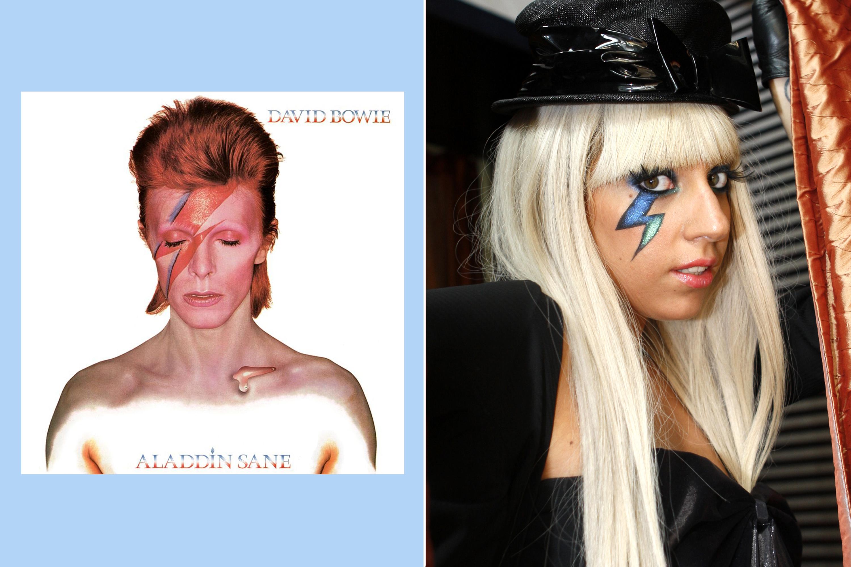 David Bowie, Aladdin Sane, 1973; Lady Gaga, 2008.