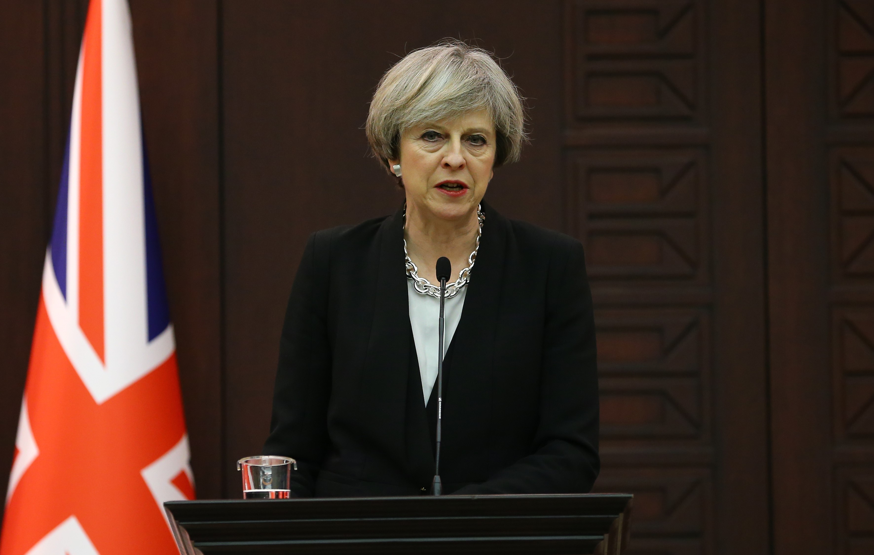 British Prime Minister Theresa May delivers a speech during a joint press conference with Turkish Prime Minister Binali Yildirim (not seen) at the Cankaya Mansion in Ankara, Turkey on January 28, 2017.