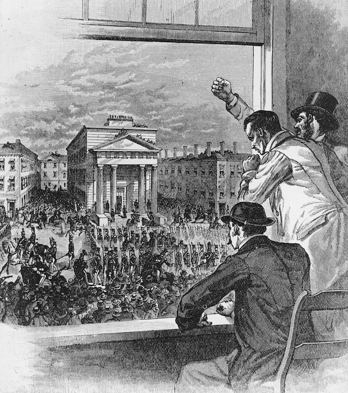 Illustration of U.S. federal troops lining the streets of Boston to hold back abolitionist protestors, angry at the rendition of Anthony Burns to his Virginia master under the Fugitive Slave Act, May 26, 1854.