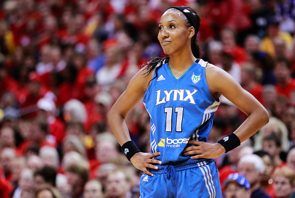 Candice Wiggins of the Minnesota Lynx looks at the benches during a break in action against the Indiana Fever during Game Three of the 2012 WNBA Finals on Oct. 19, 2012 at Bankers Life Fieldhouse in Indianapolis, Indiana.