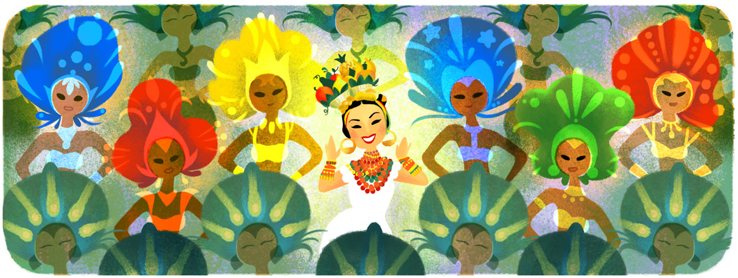 Google Doodle to mark what would have been the 108th birthday of Carmen Miranda, designed by Sophie Diao