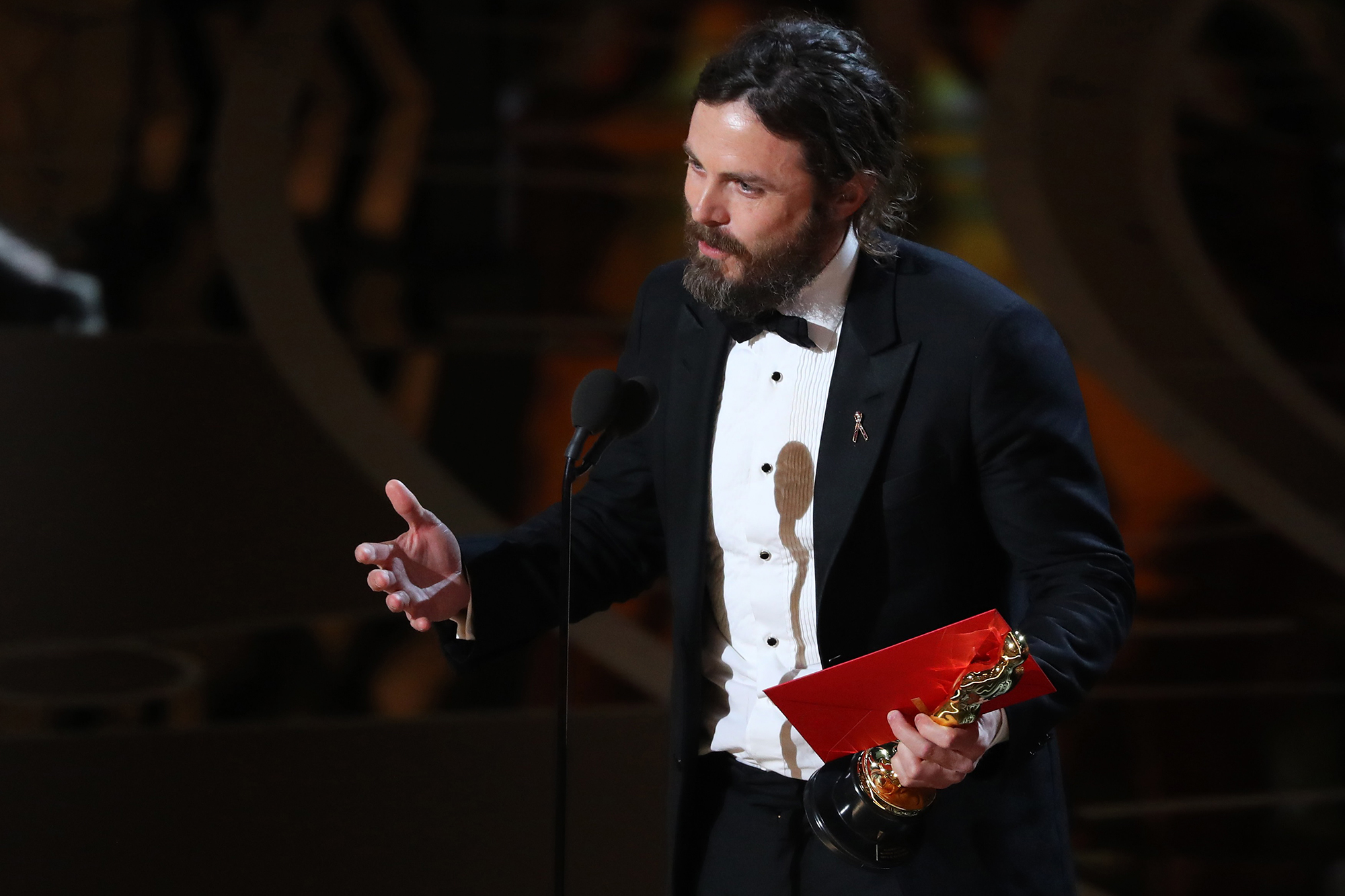 Casey Affleck speaks as he accepts the Oscar for Best Actor for Manchester by the Sea, on Feb. 27, 2017 in Hollywood, Calif.