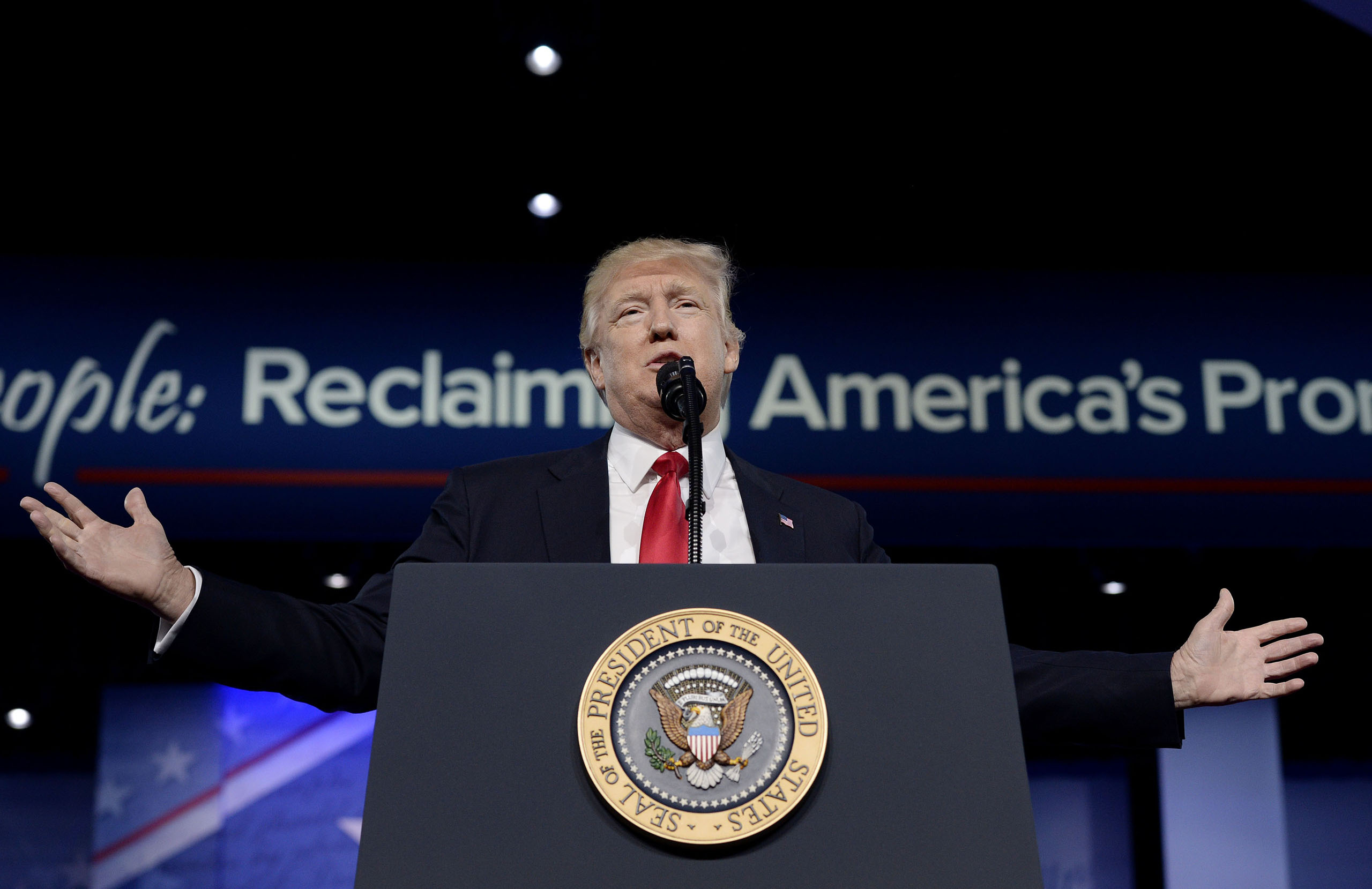 President Donald Trump delivers remarks to the Conservative Political Action Conference (CPAC) in National Harbor, Maryland on Feb. 24, 2017.