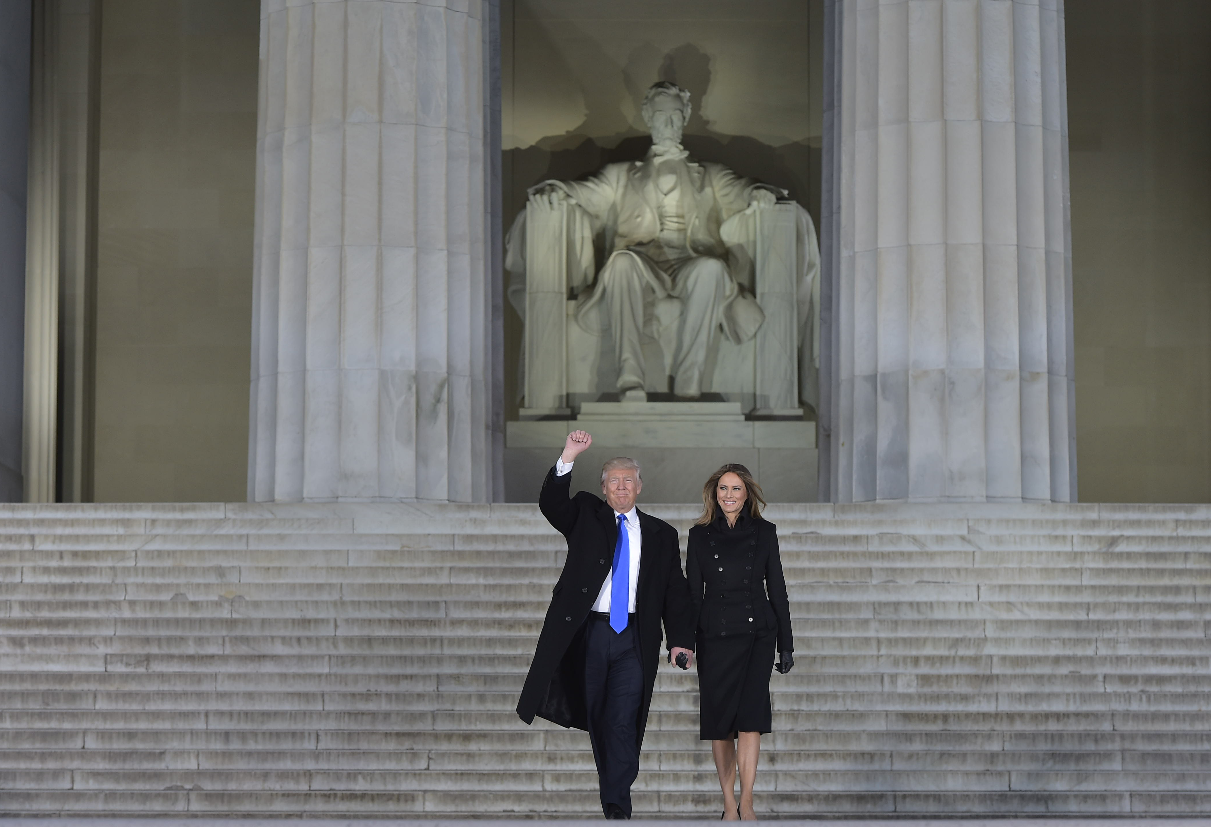 President-elect Donald Trump and his wife Melania arrive to attend an inauguration concert at the Lincoln Memorial in Washington, D.C., on Jan. 19, 2017.
