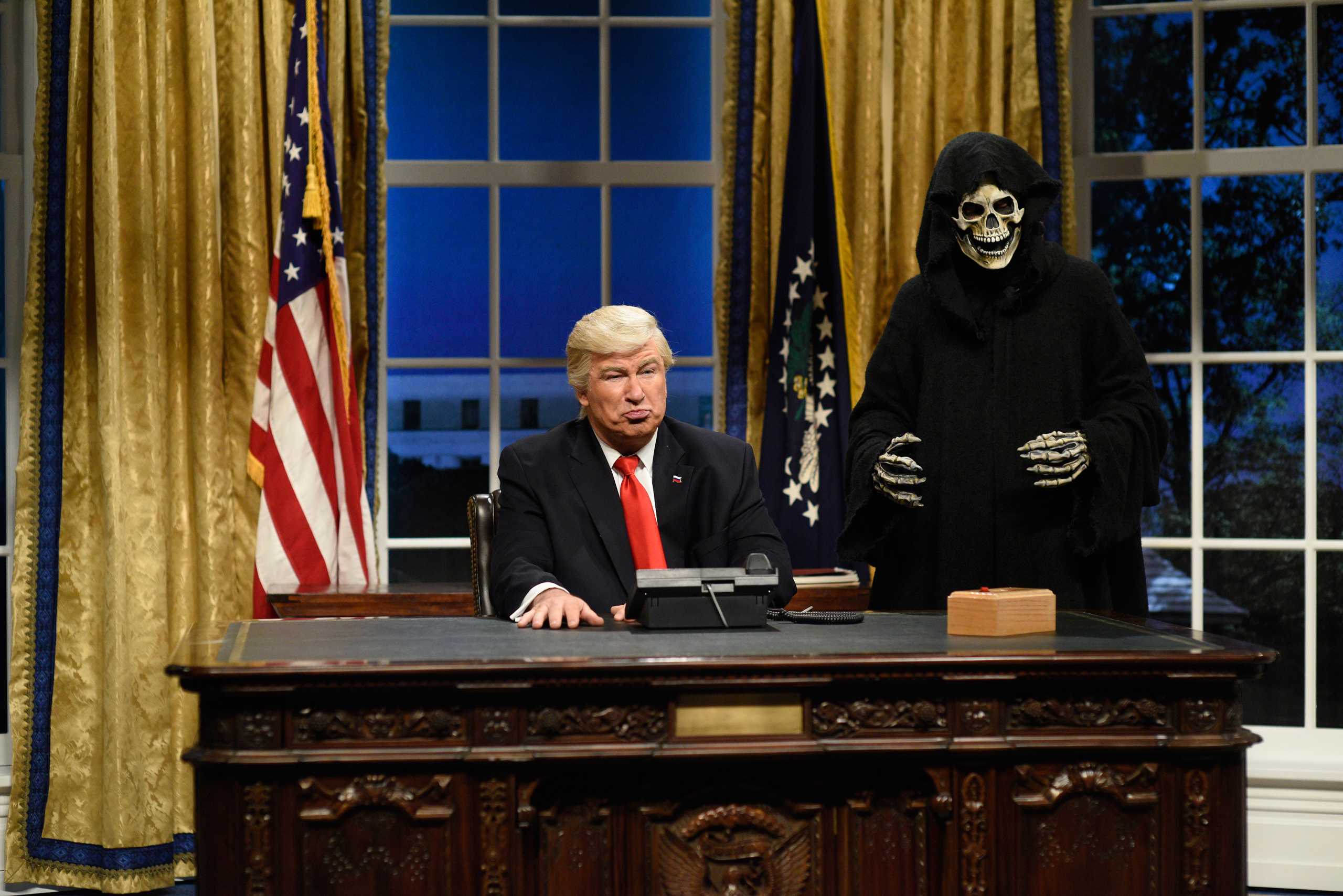 Alec Baldwin as President Donald J. Trump and Mikey Day as advisor Steve Bannon during the Oval Office Cold Open on Feb. 4, 2017.