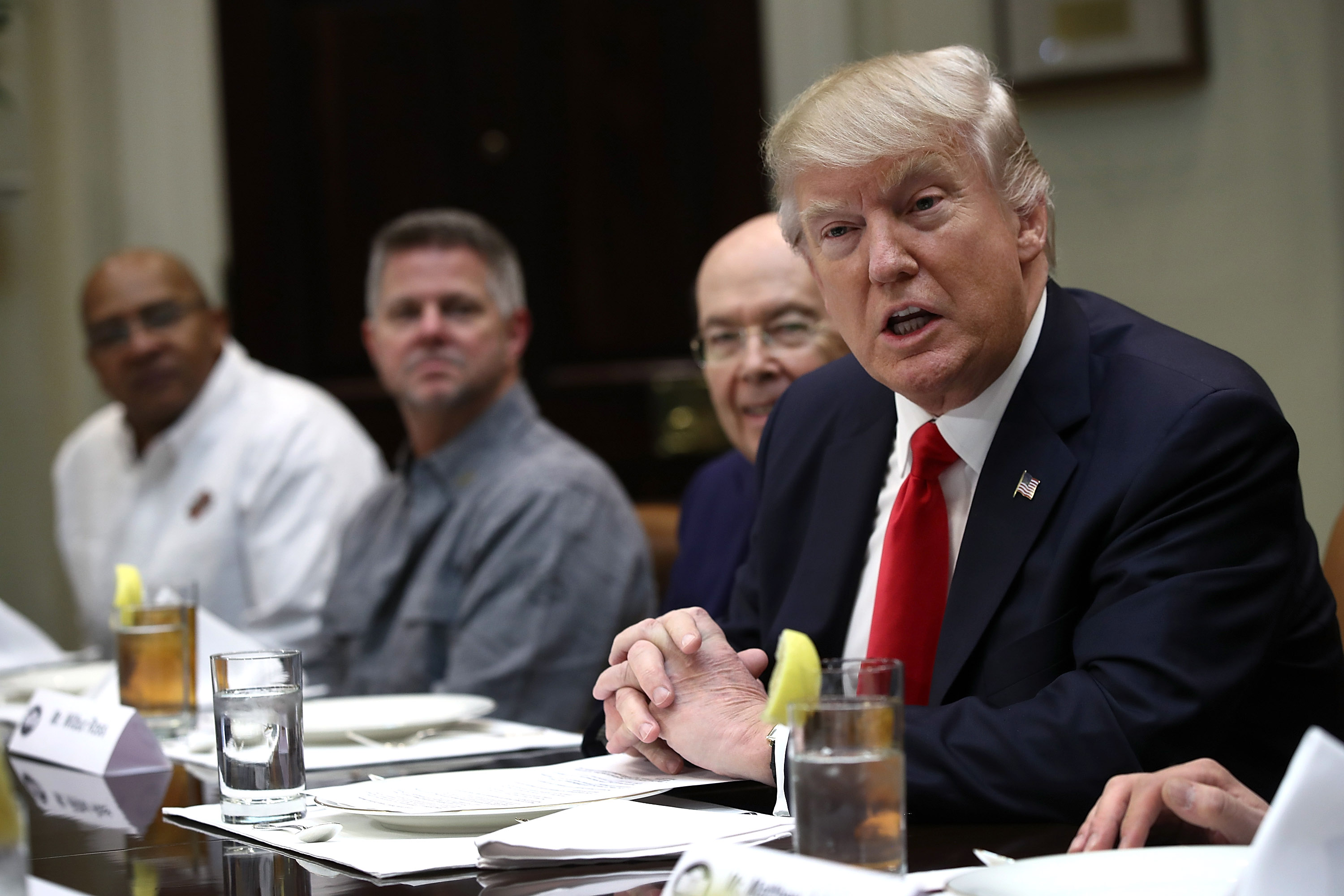 WASHINGTON, DC - FEBRUARY 02:  (AFP OUT) U.S. President Donald Trump speaks while meeting with executives and union representatives from the Harley Davidson company at the White House on February 2, 2017 in Washington, DC. At the end of the photo opportunity, Trump said  nothing is off the table  in relation to current disagreements between the U.S. and Iran.  (Photo by Win McNamee/Getty Images)
