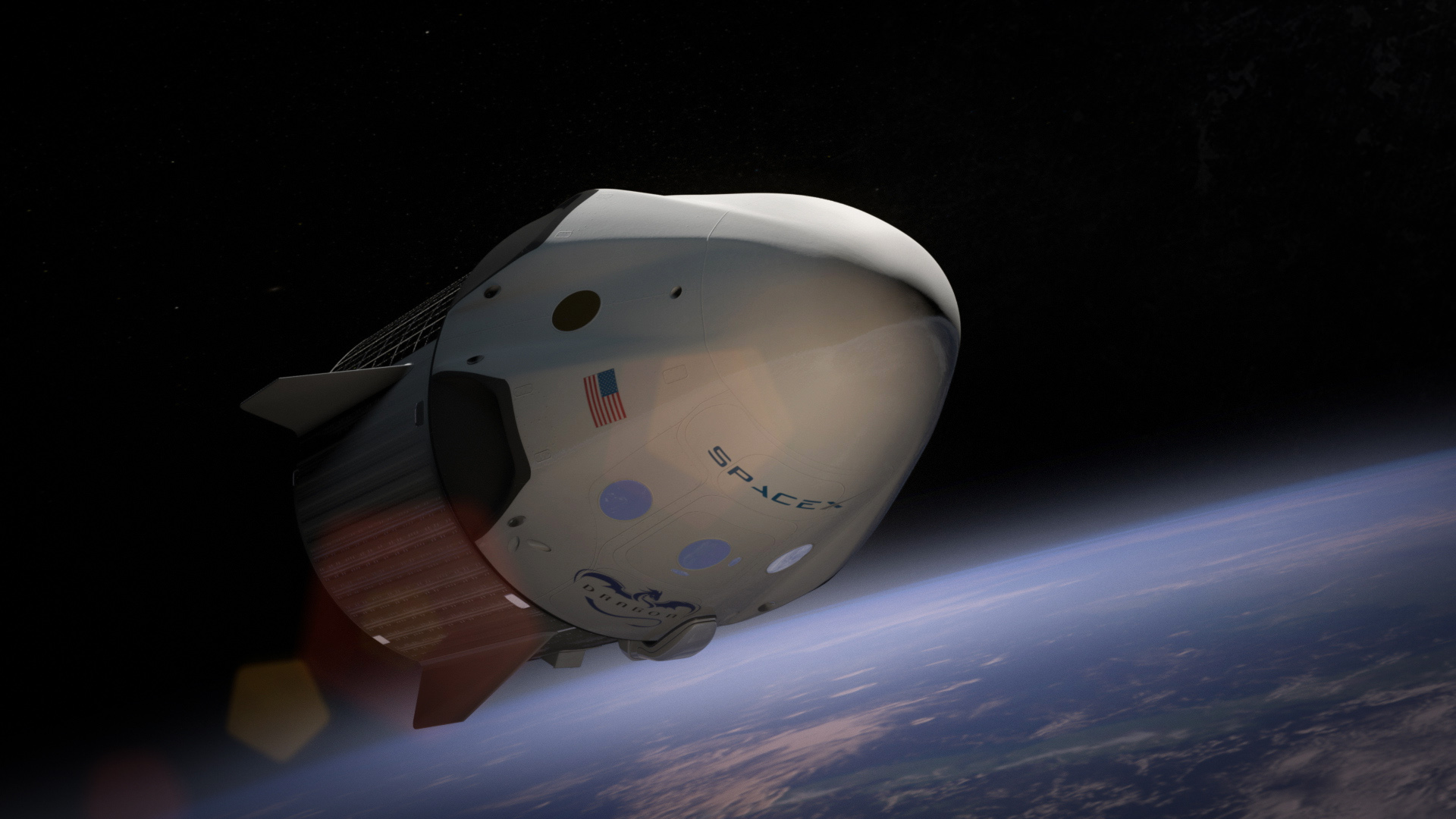 An artist's rendering of the Dragon V2 spacecraft in orbit. Elon Musk announced that in 2018 SpaceX will fly two private citizens to the moon in its Dragon spacecraft, Feb 27, 2017.