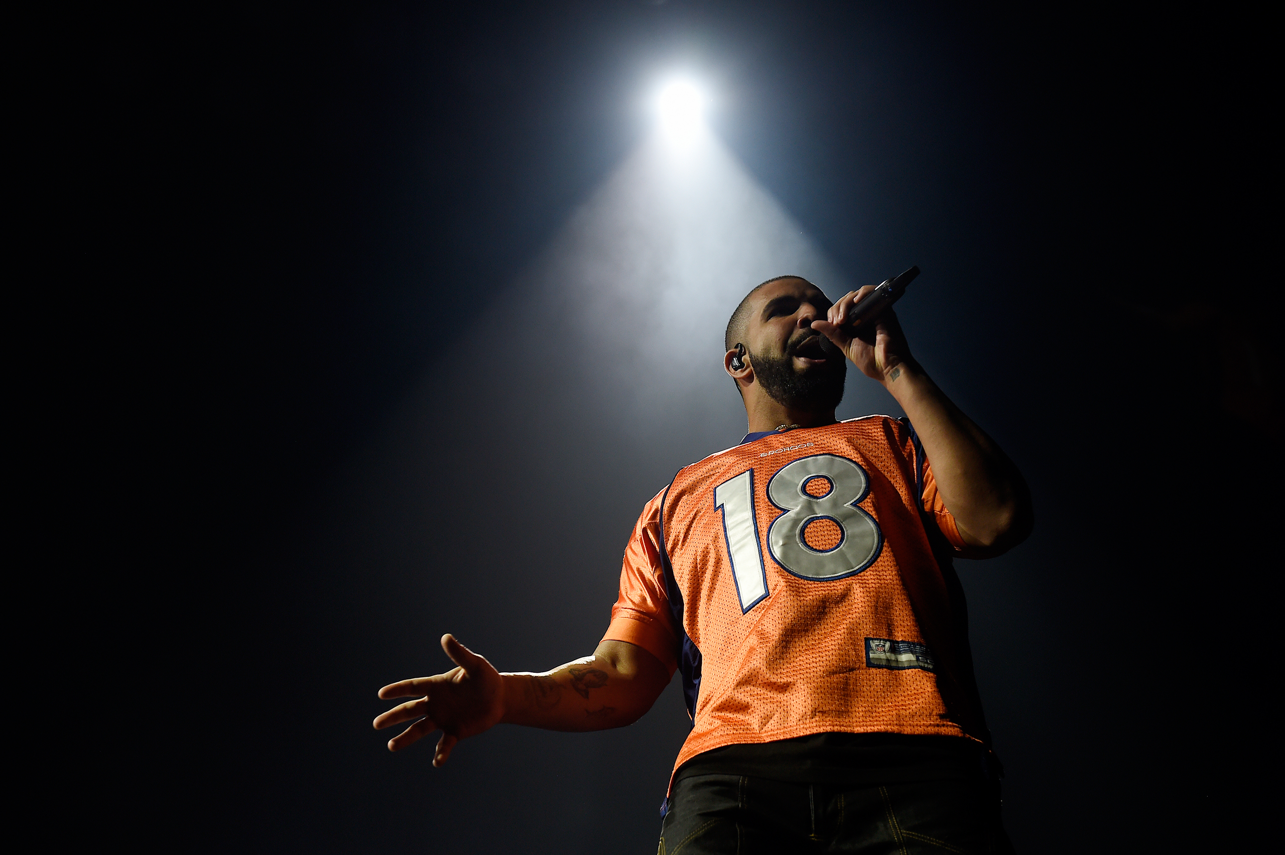 Drake performs at the Pepsi Center in Denver on Oct. 2, 2016.