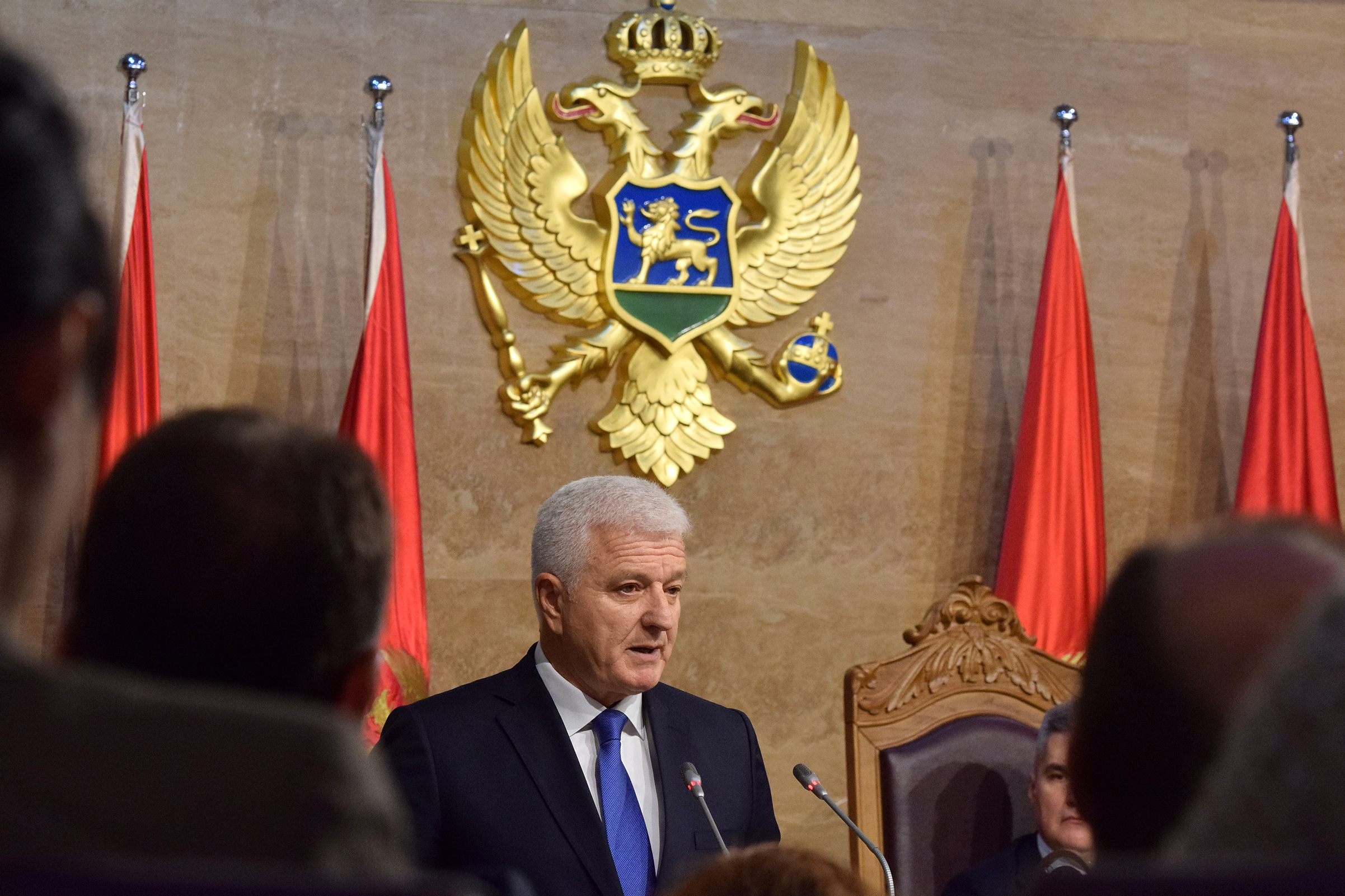 Prime Minister Dusko Markovic addresses the parliament in Podgorica, Montenegro, on Nov. 28, November 2016.