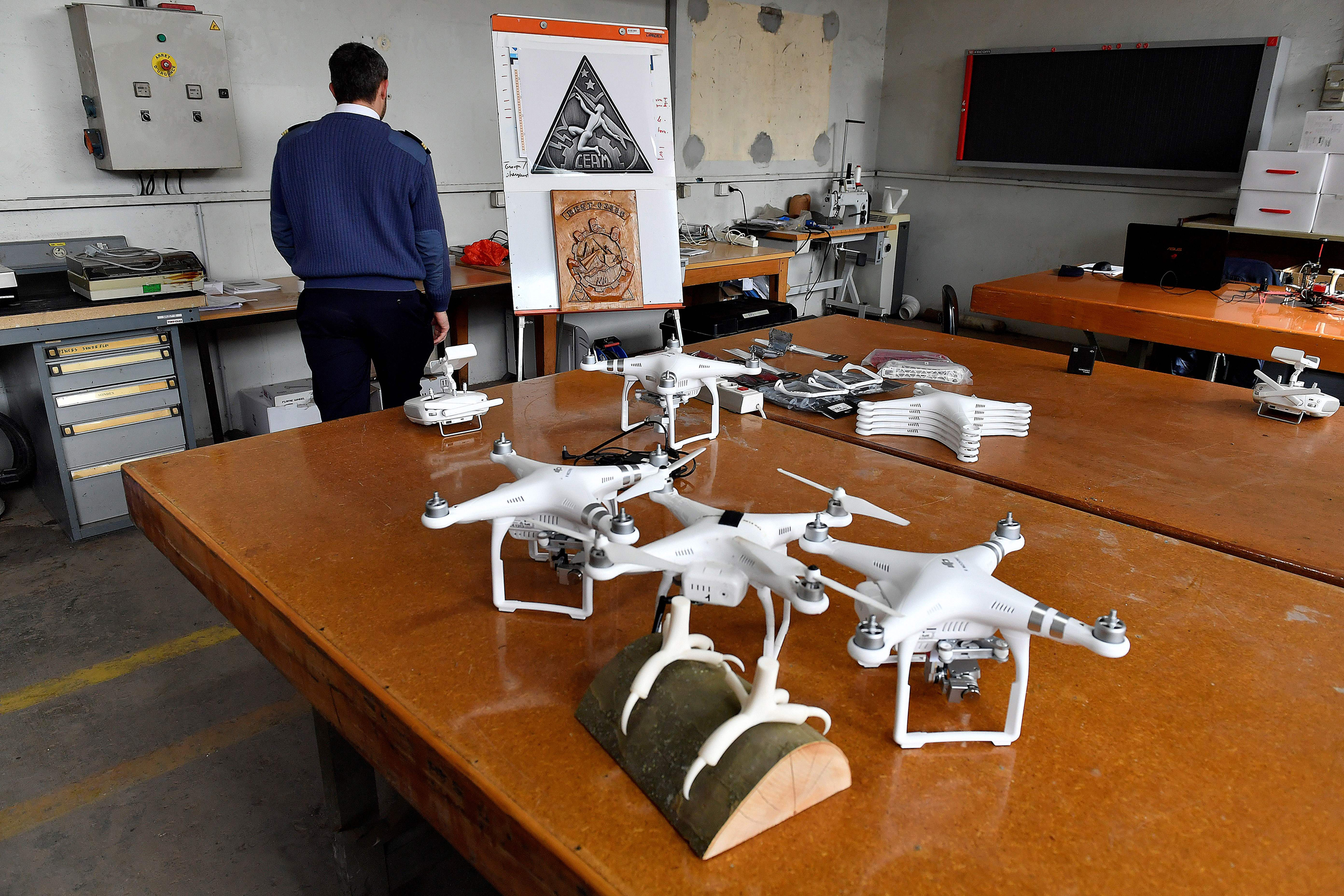 Drones that were intercepted by eagles are being repaired following a military exercise at the Mont-de-Marsan airbase in southwestern France on Feb. 10, 2017.