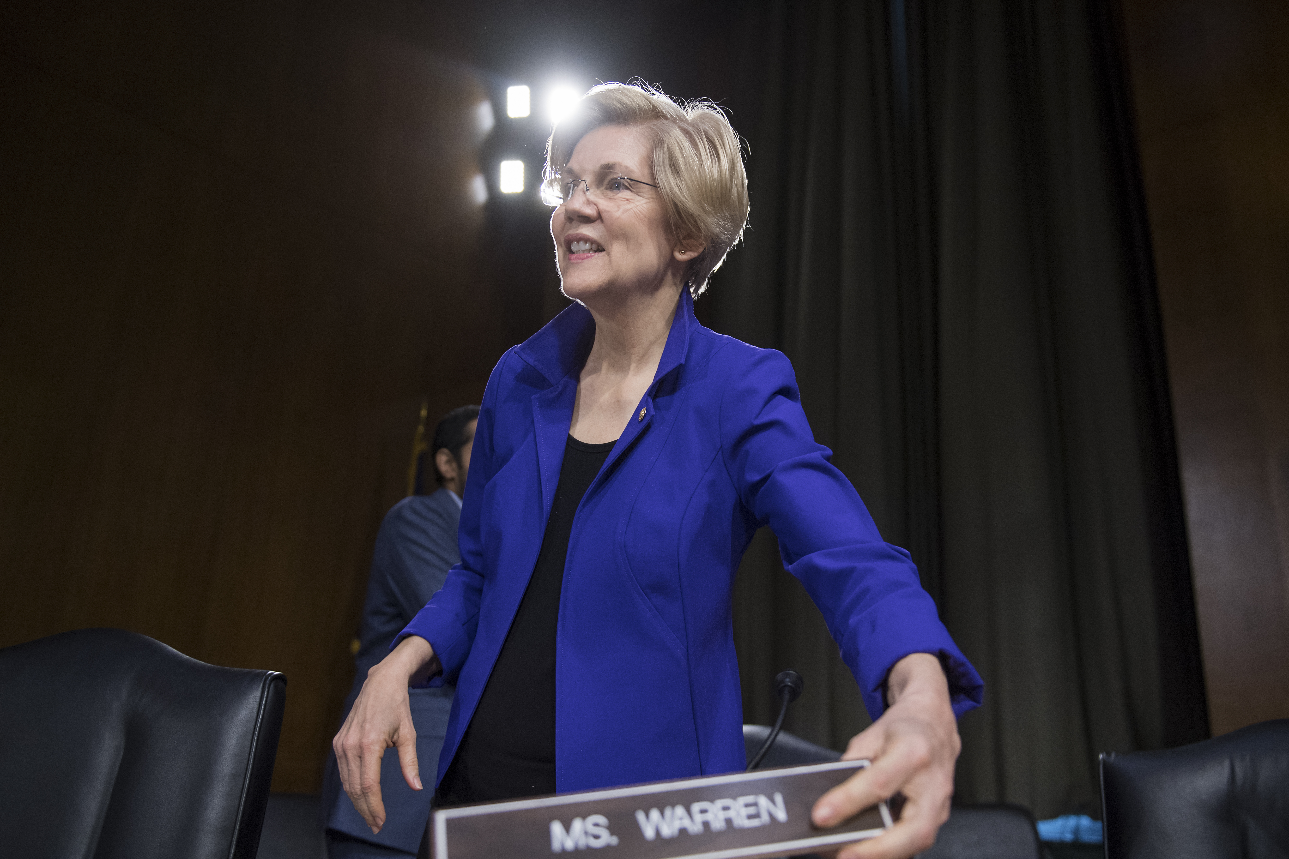 UNITED STATES - FEBRUARY 14: Sen. Elizabeth Warren, D-Mass., arrives for a Senate Banking, Housing, and Urban Affairs Committee hearing in Dirksen Building titled  The Semiannual Monetary Policy Report to the Congress,  featuring testimony by Fed Chairwoman Janet Yellen, February 14, 2017. (Photo By Tom Williams/CQ Roll Call)