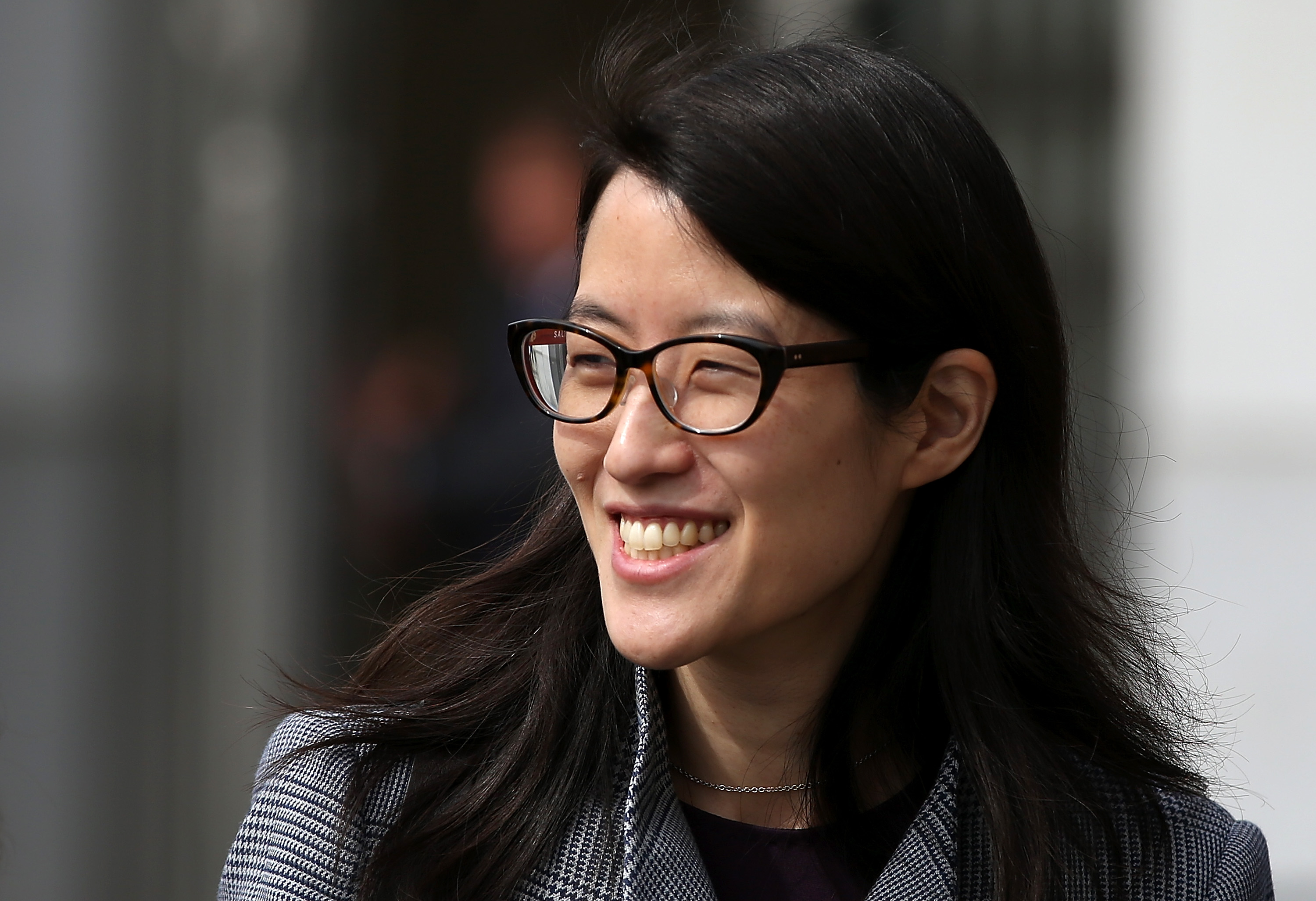 Ellen Pao leaves the California Superior Court Civic Center Courthouse during a lunch break from her trial on March 10, 2015 in San Francisco, CA.