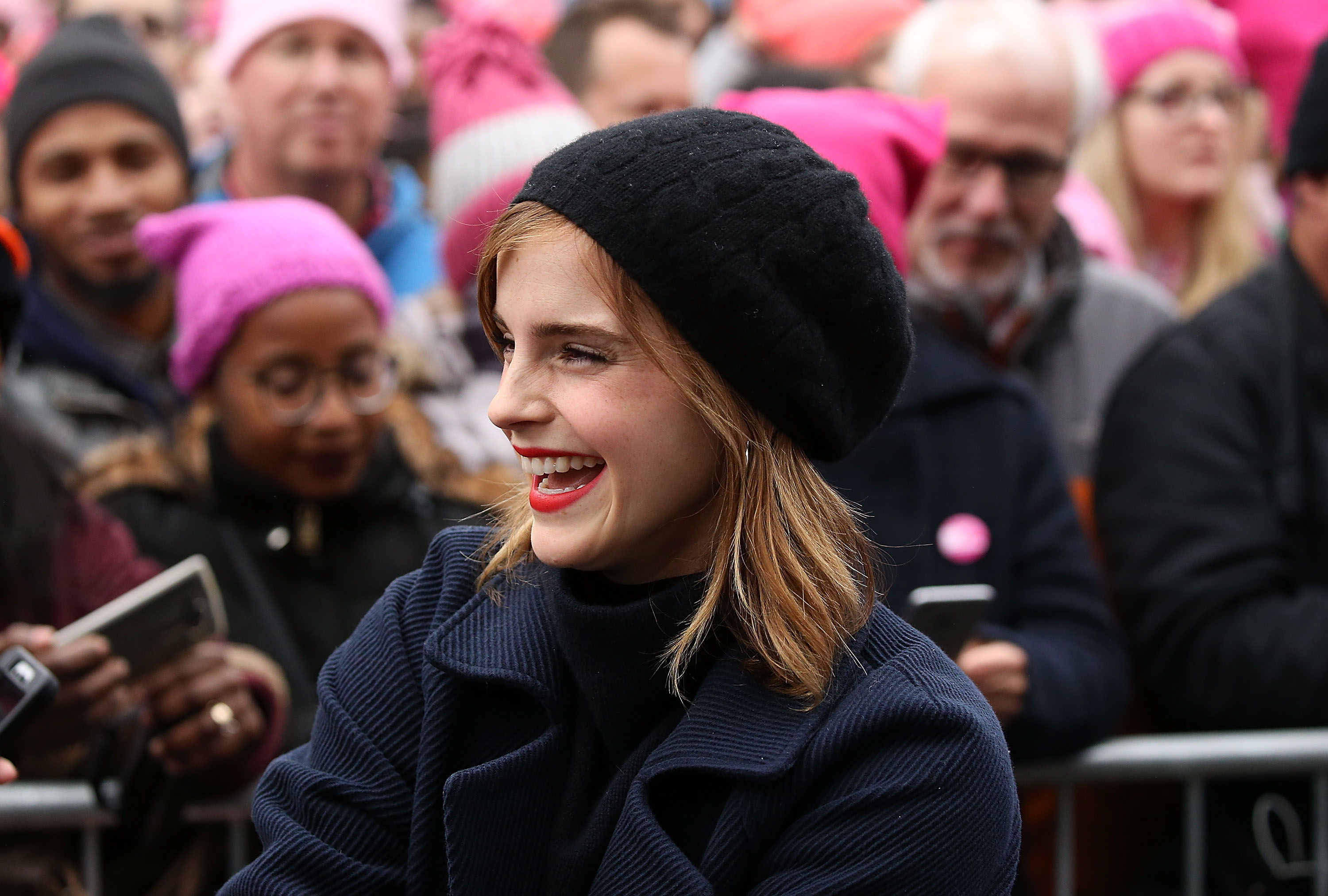 Emma Watson attends the rally at the Women's March on Washington on January 21, 2017 in Washington, DC.