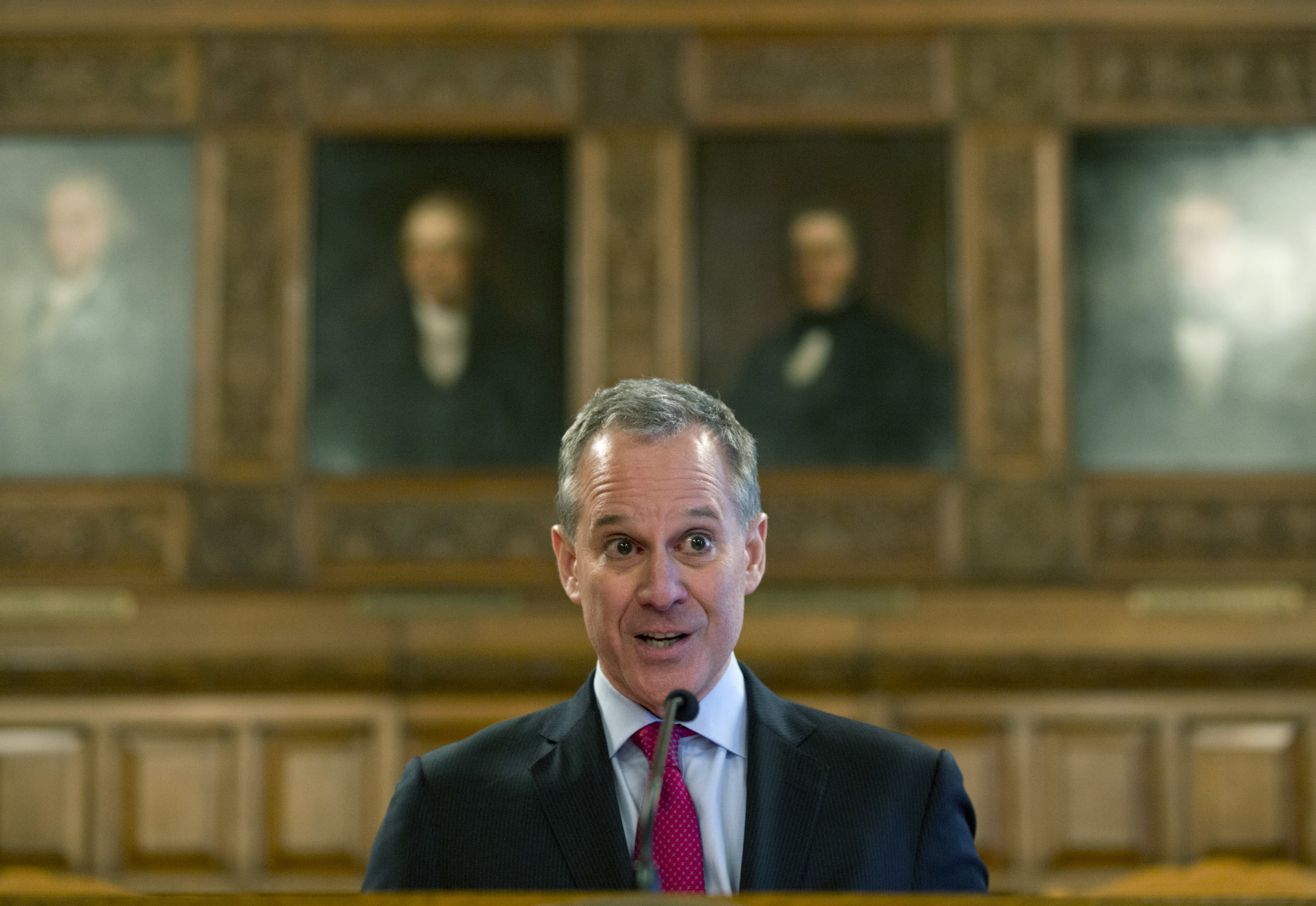 Eric Schneiderman speaks during Law Day at the Court of Appeals in Albany, NY, on May 2, 2016.