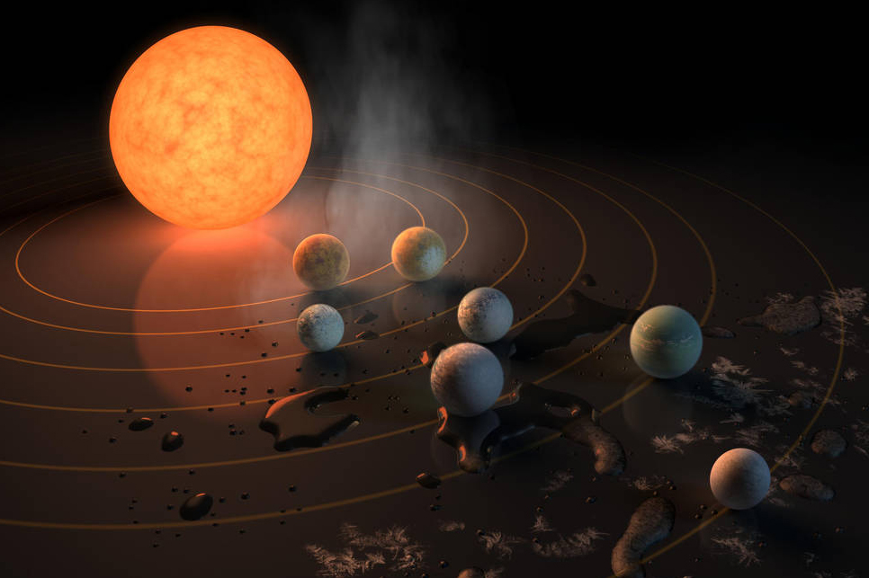 This artist's concept appeared on the Feb. 23, 2017 cover of the journal Nature, announcing that the TRAPPIST-1 star has seven Earth-size planets orbiting it.