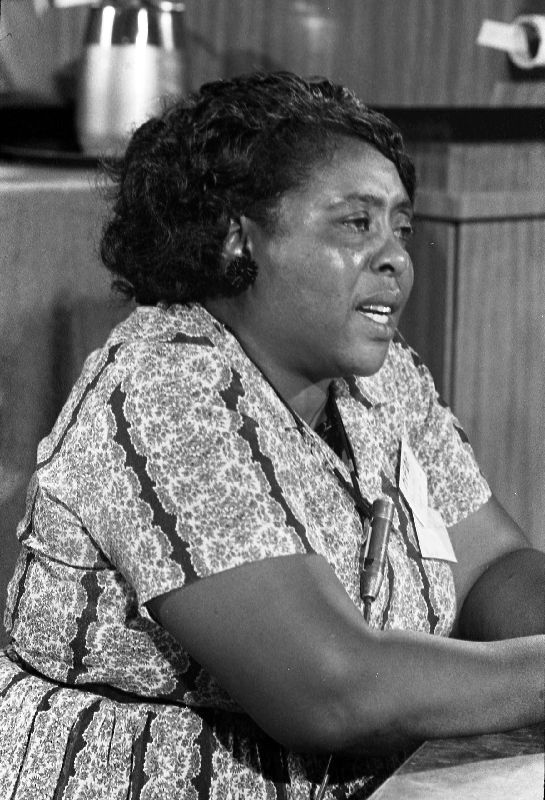 Fannie Lou Hamer, Mississippi Freedom Democratic Party delegate, at the Democratic National Convention, Atlantic City, New Jersey, August 1964.