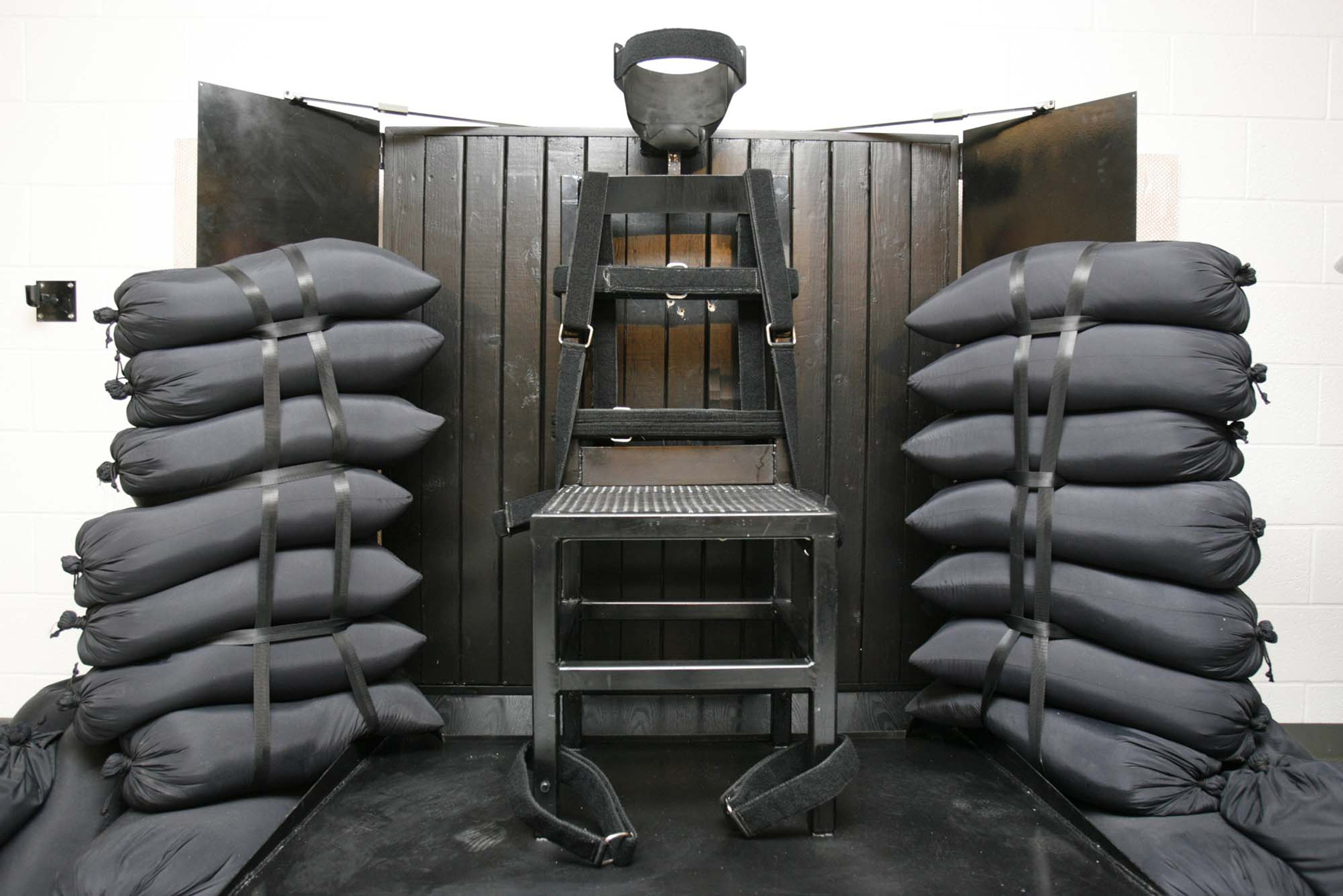 This 2010 file photo shows the firing squad execution chamber at the Utah State Prison, in Draper, Utah.