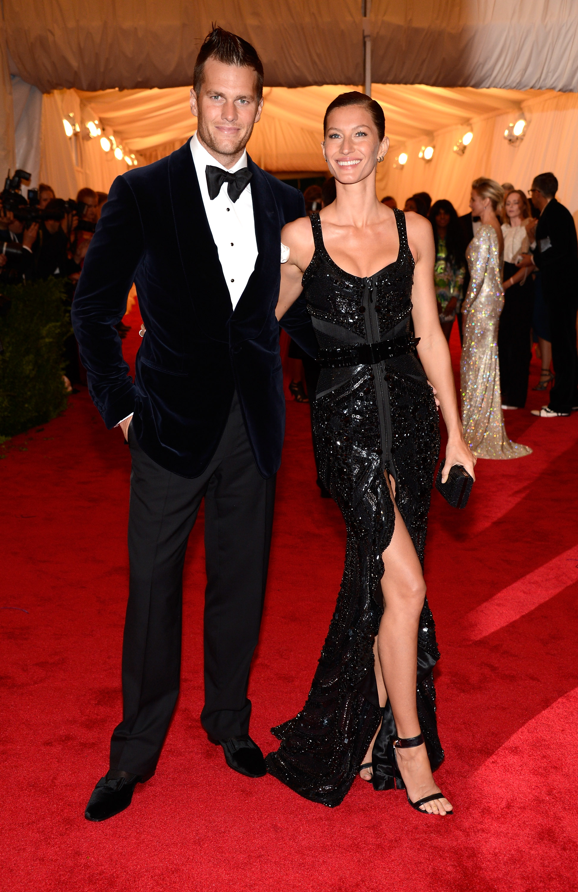 NEW YORK, NY - MAY 07: Tom Brady and Gisele Bundchen attend the  Schiaparelli And Prada: Impossible Conversations  Costume Institute Gala at the Metropolitan Museum of Art on May 7, 2012 in New York City. (Photo by Kevin Mazur/WireImage)