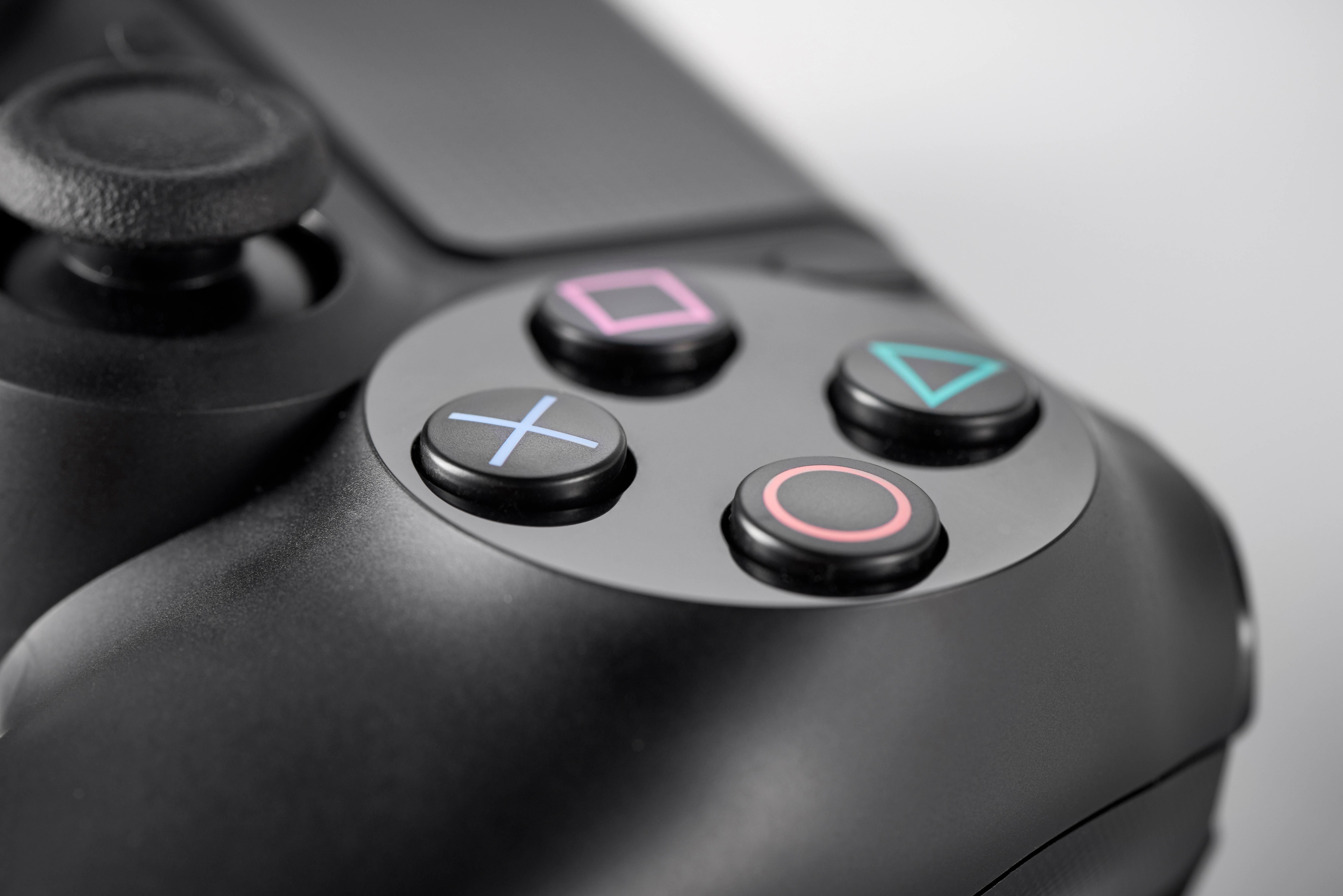Detail of the buttons on a Sony DualShock 4 wireless controller, taken on January 22, 2016.