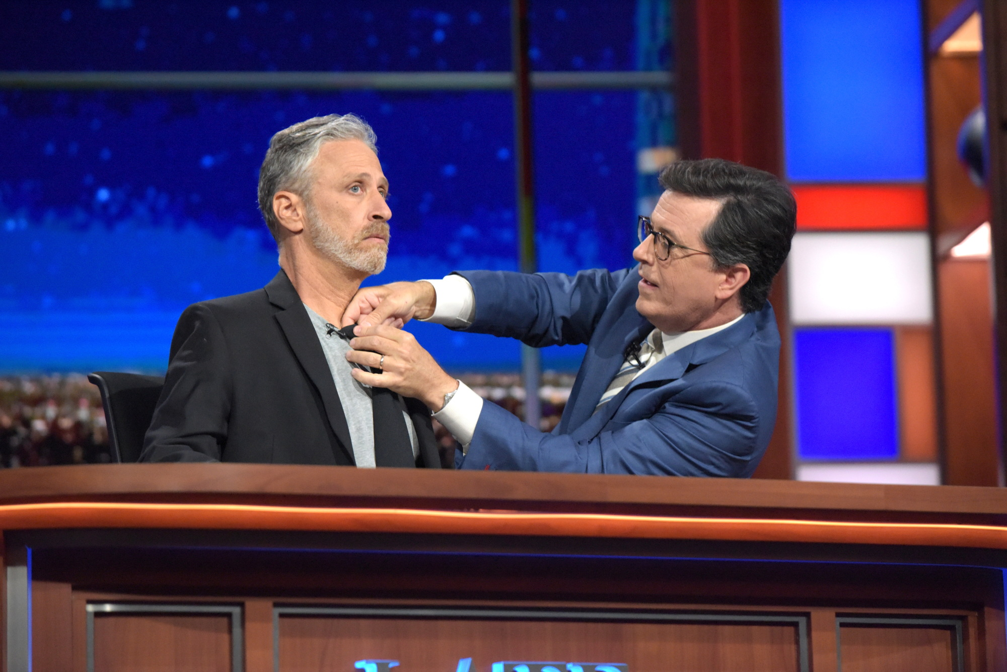 The Late Show with Stephen Colbert Thursday July 21, 2016 in New York. With guest Jon Stewart.