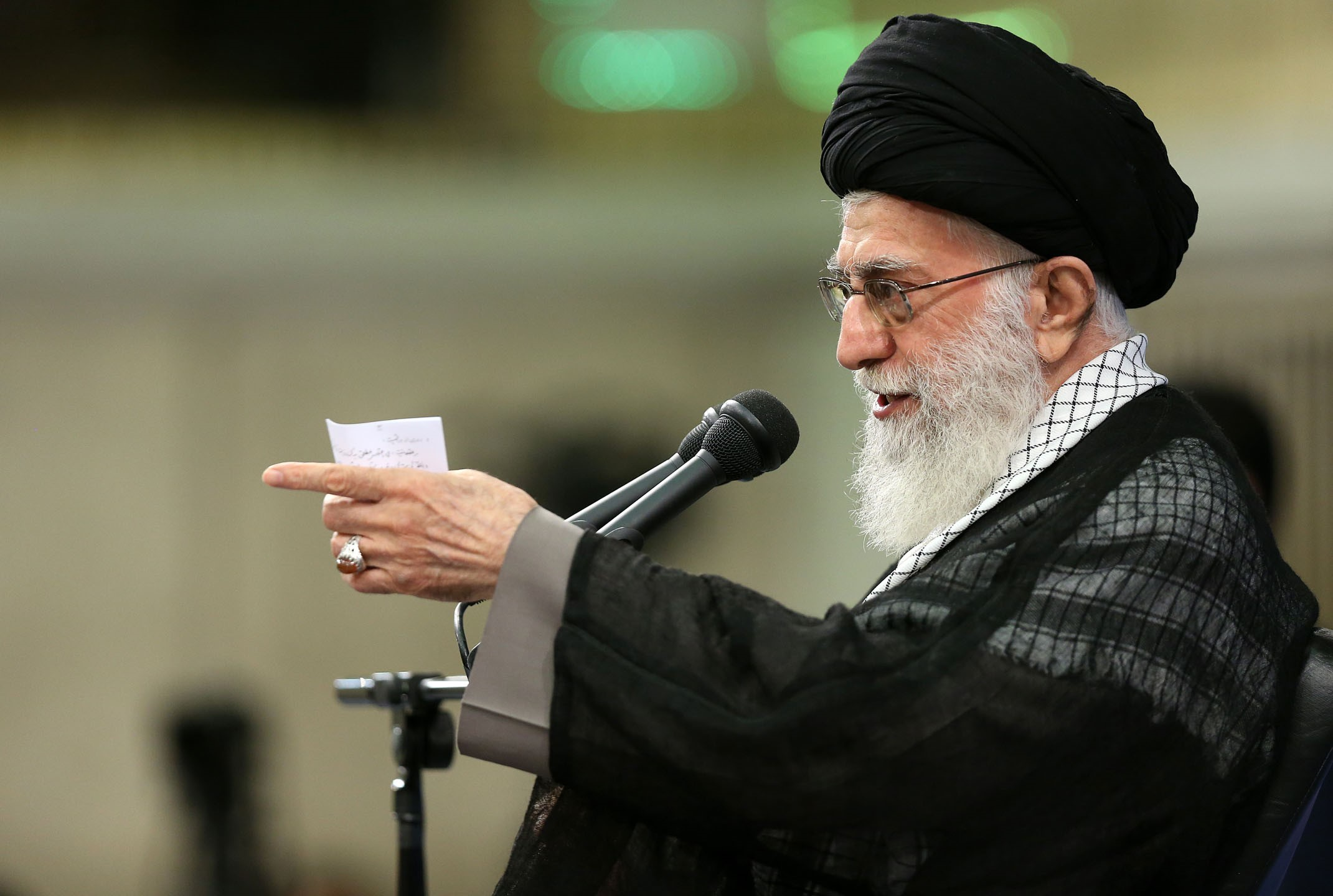 Iranian supreme leader Ayatollah Ali Khamenei delivers a speech during an Islamic Revolution Guards Corps meeting in Tehran, Iran on Sept. 18, 2016.
