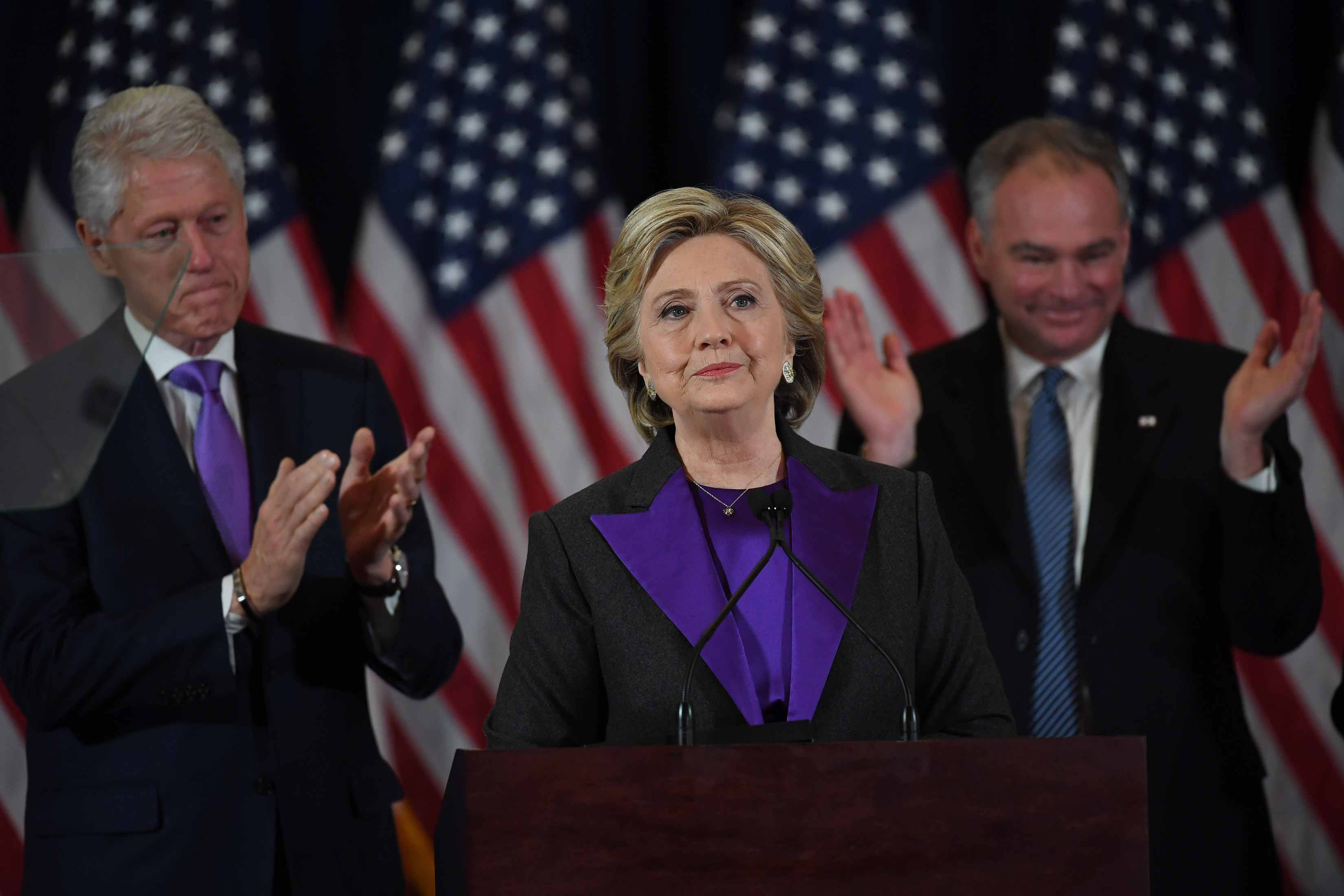 Hillary Clinton speaks during a press conference in New York Cityon Nov. 9, 2016
