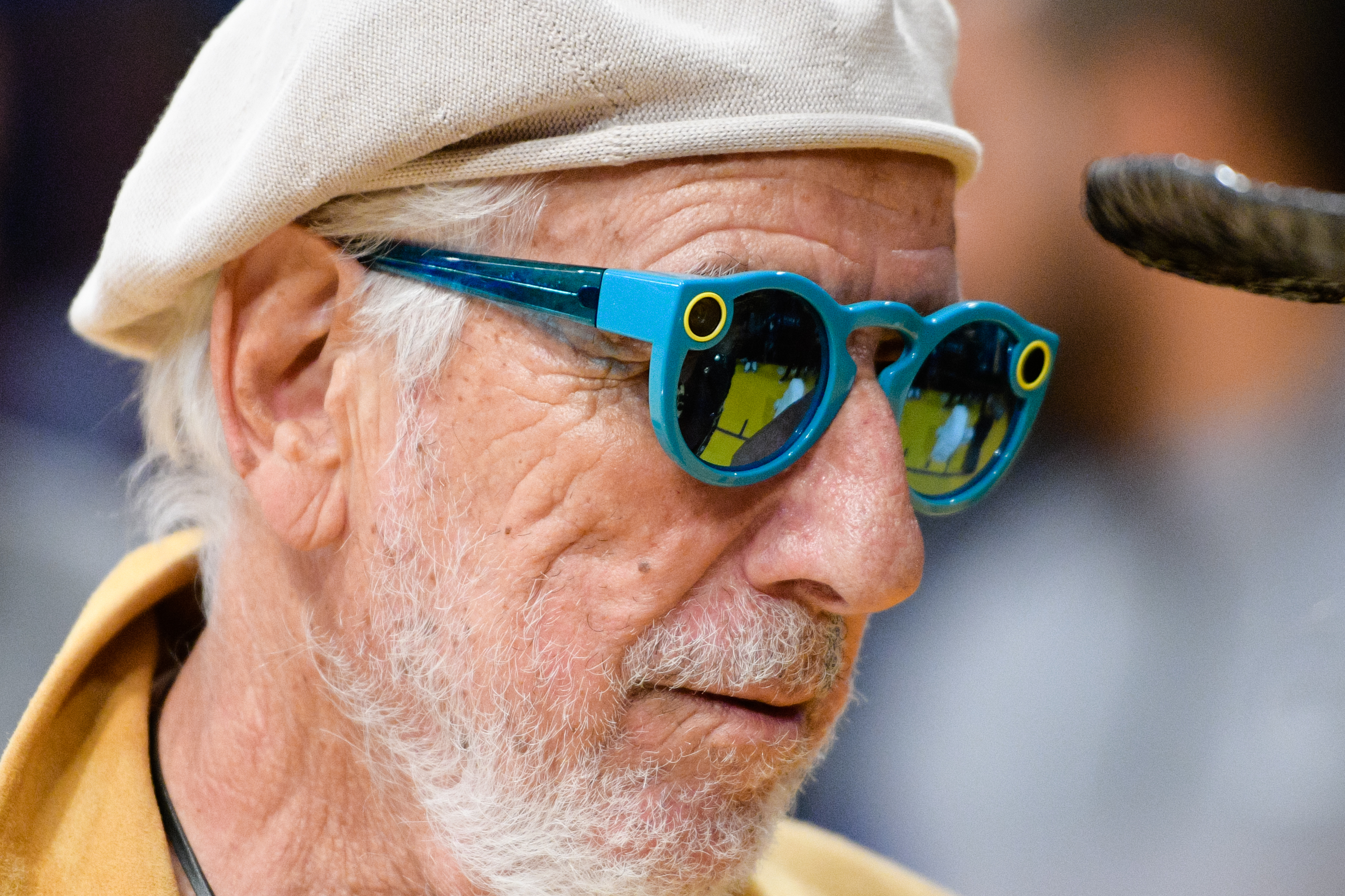 Lou Adler, wearing Snapchat's Spectacles, attends a basketball game between the Brooklyn Nets and the Los Angeles Lakers at Staples Center on November 15, 2016 in Los Angeles, California.