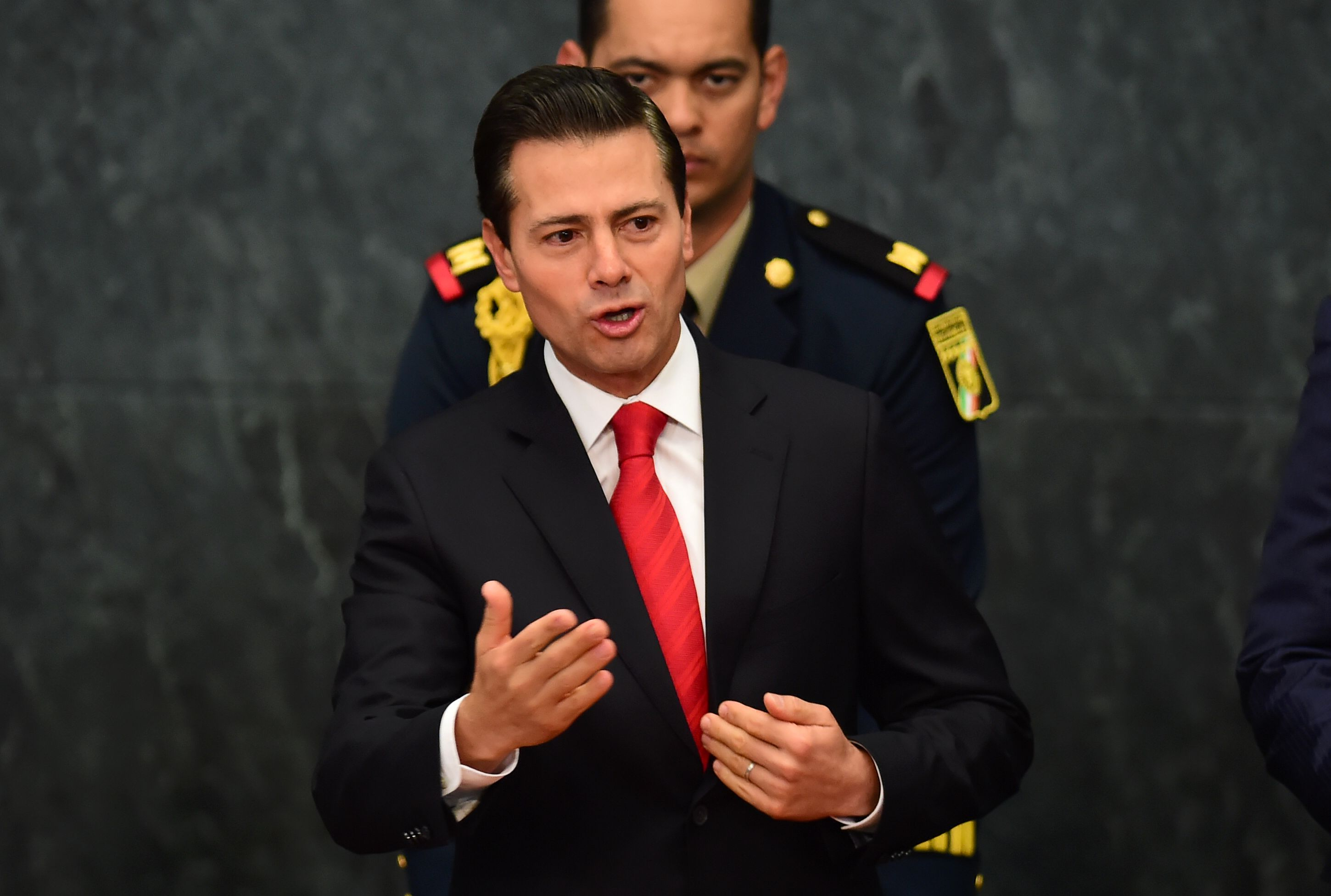 Mexican President Enrique Pena Nieto gives a foreign policy speech after US President Donald Trump vowed to start renegotiating North American trade ties, in Mexico City on Jan. 23, 2017.