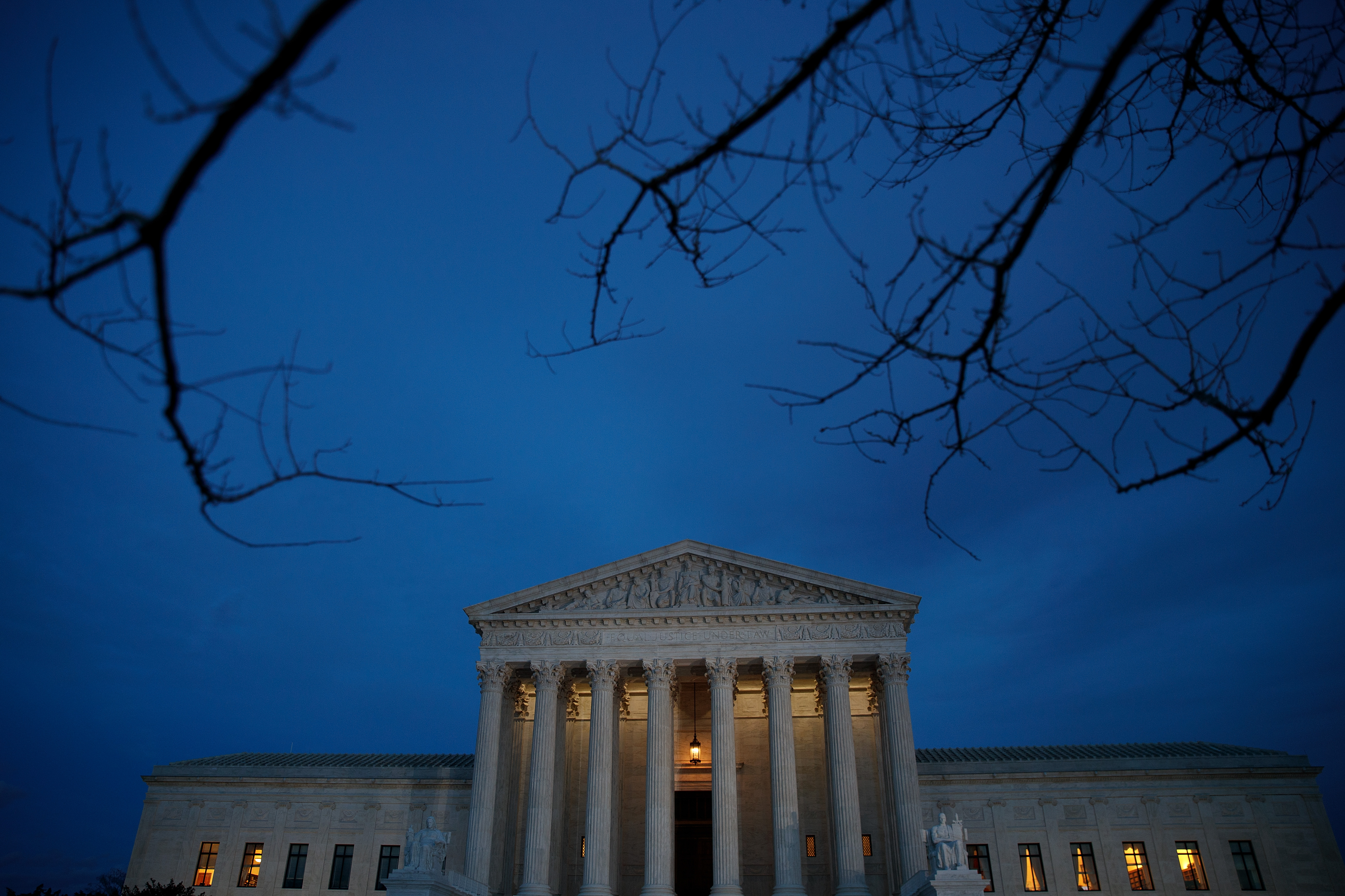 A view of the Supreme Court at dusk, January 31, 2017 in Washington, DC.