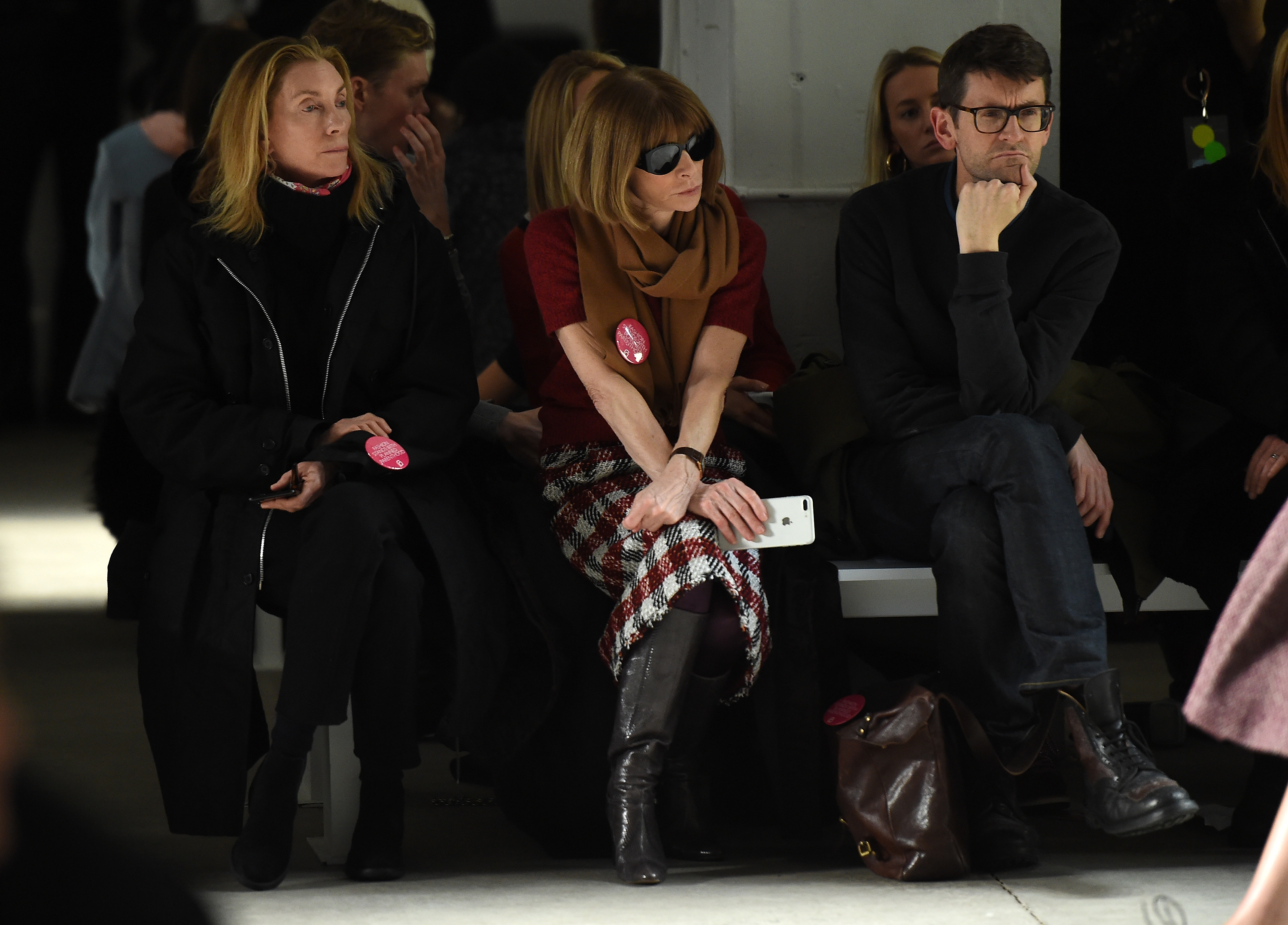 Anna Wintour (C) attends the Brock Collection fashion show during, New York Fashion Week: The Shows at Gallery 3, Skylight Clarkson Sq on February 9, 2017 in New York City.
