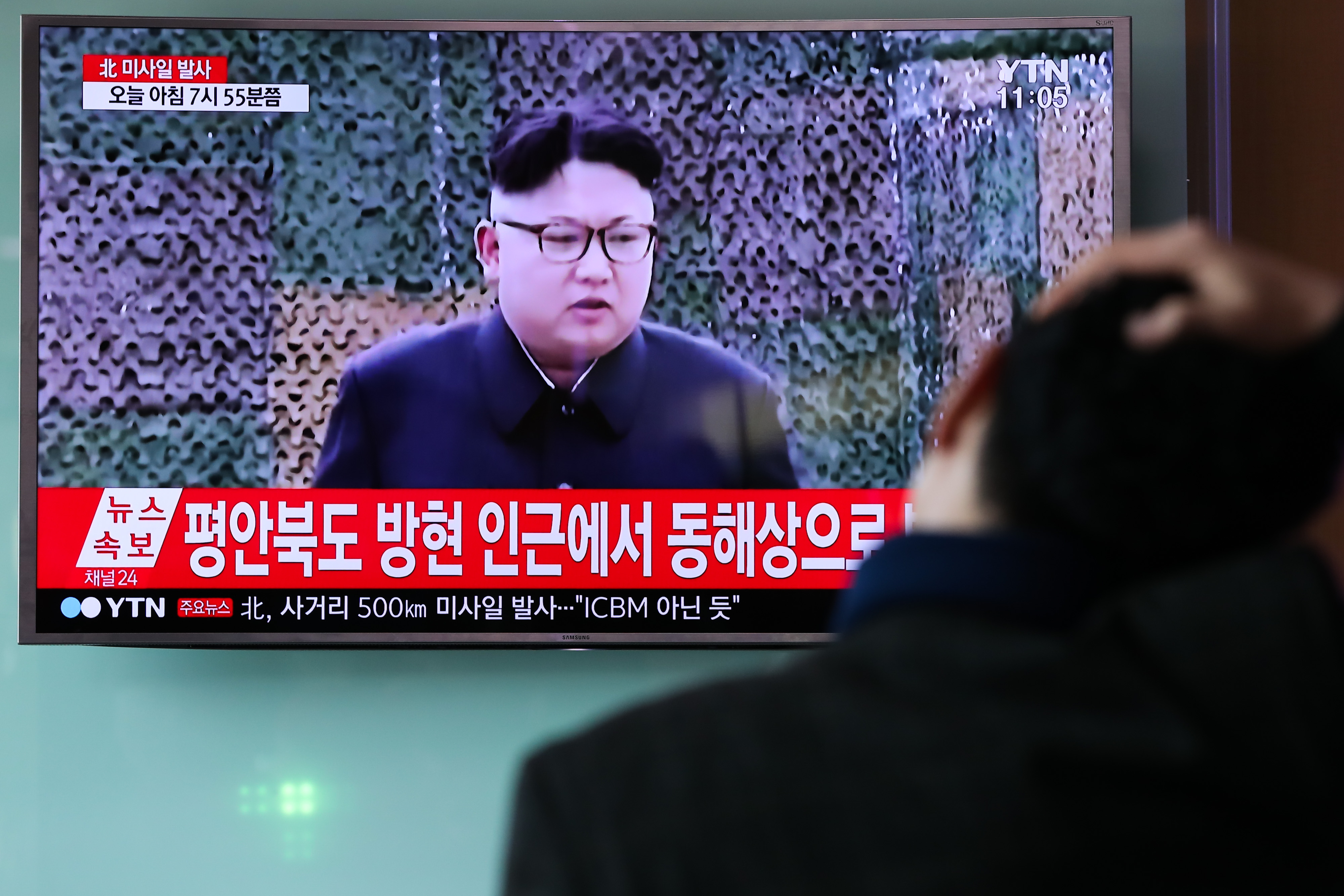 An image of Kim Jong Un, leader of North Korea during a news broadcast on North Korea's unidentified ballistic missile launch at Seoul Station in Seoul, South Korea, on Feb. 12, 2017.