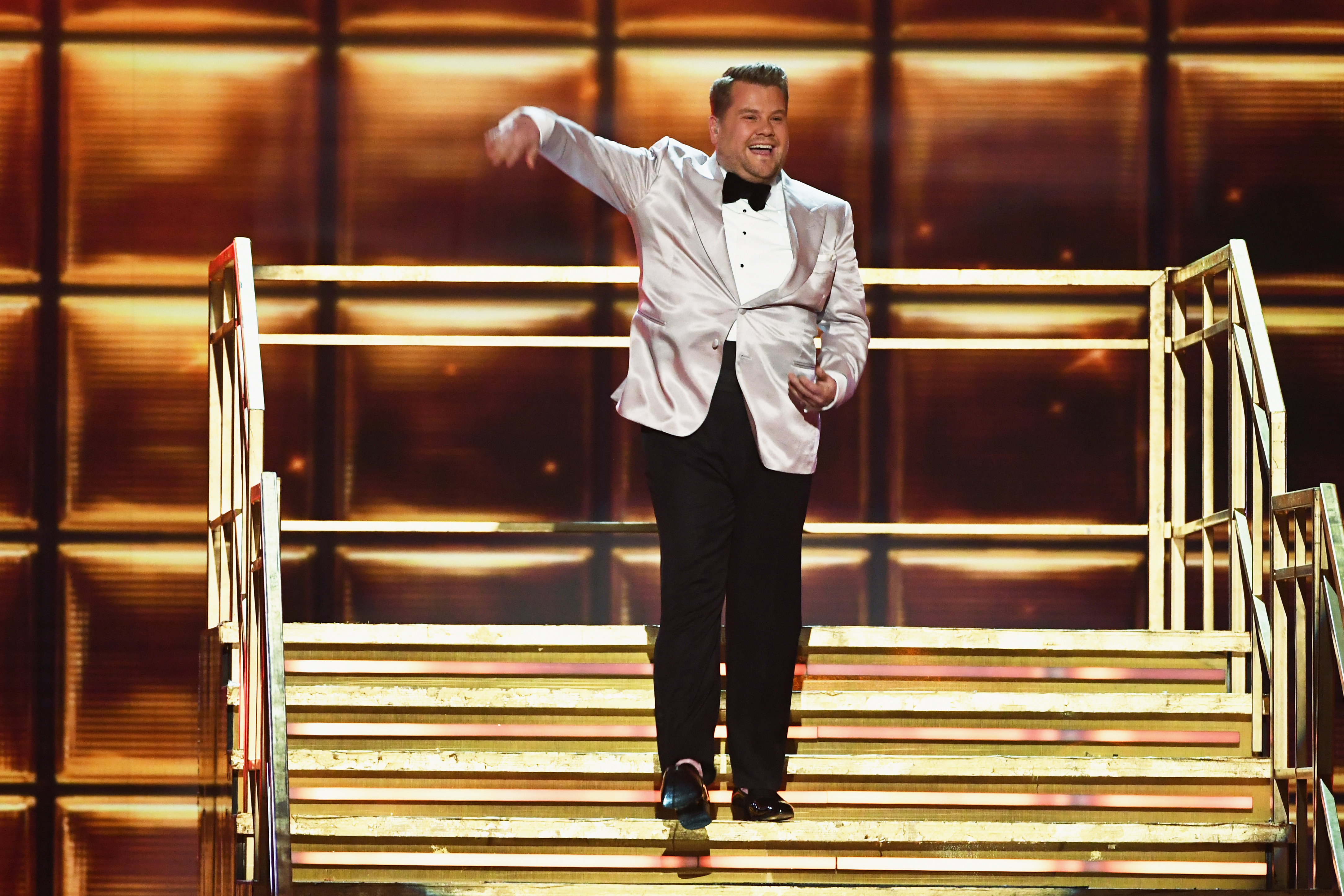 Host James Corden speaks onstage during The 59th GRAMMY Awards on Feb. 12, 2017 in Los Angeles, California.