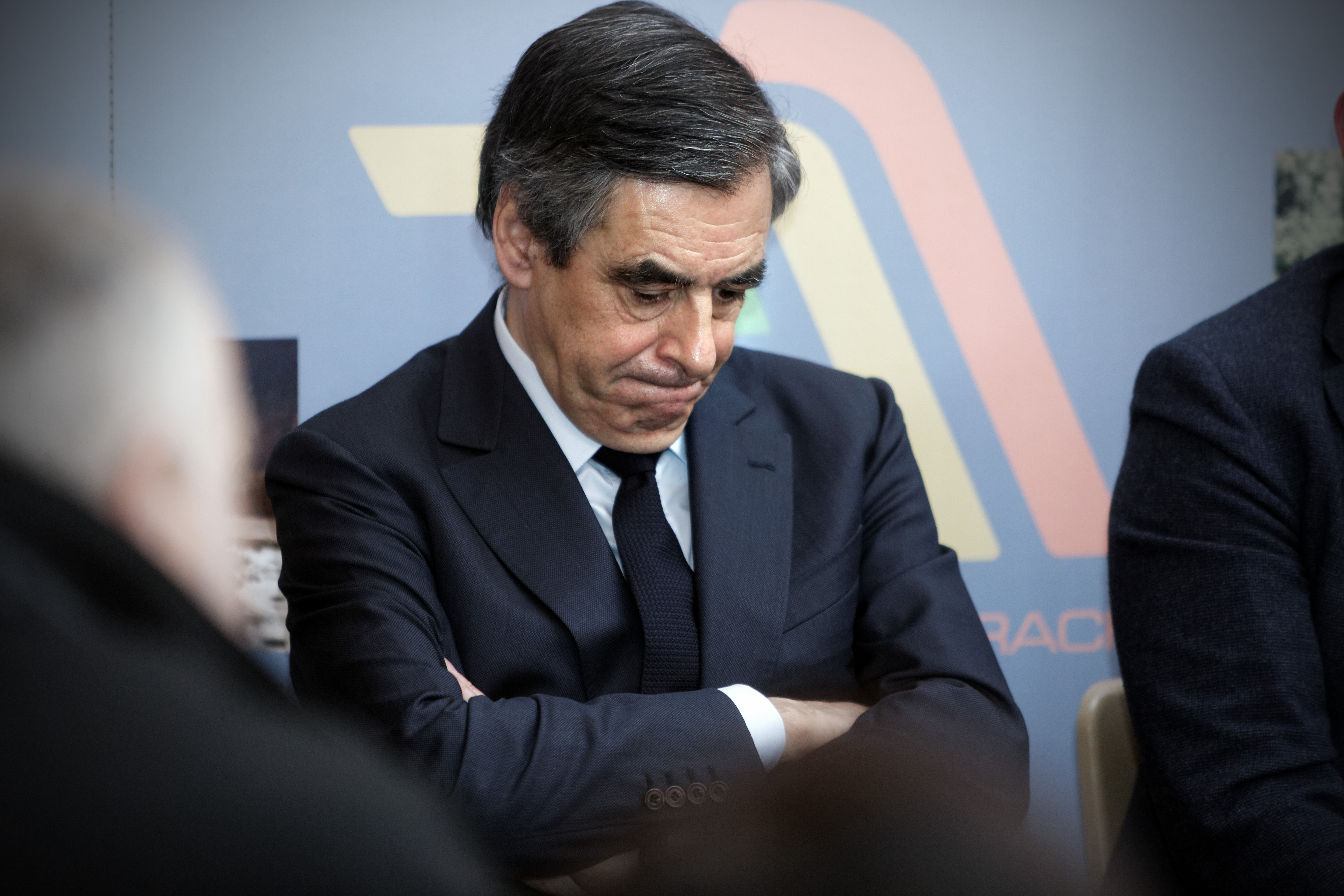 Former French Prime Minister Francois Fillon meets with farmers in Liart near Charleville-Mezieres, France on Feb. 2, 2017.