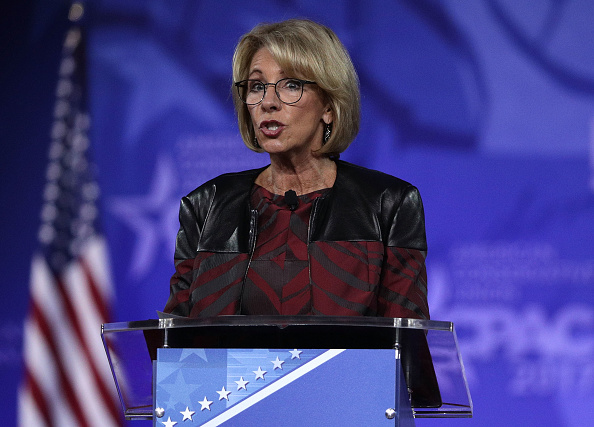 U.S. Secretary of Education Betsy DeVos speaks during the Conservative Political Action Conference at the Gaylord National Resort and Convention Center February 23, 2017 in National Harbor, Maryland.