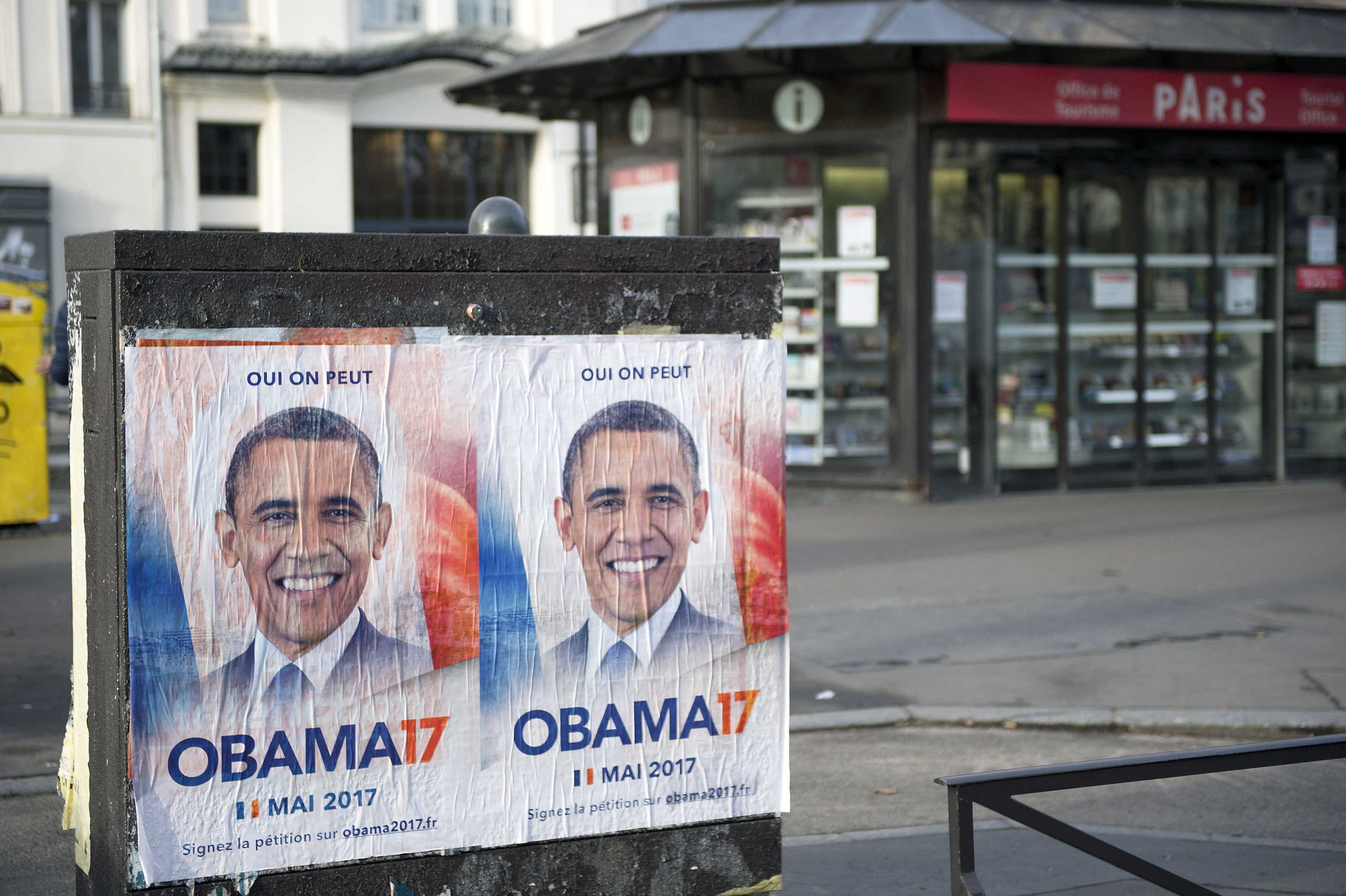 Obama 17 posters are seen displayed on Feb. 23, 2017 in Paris, France.
