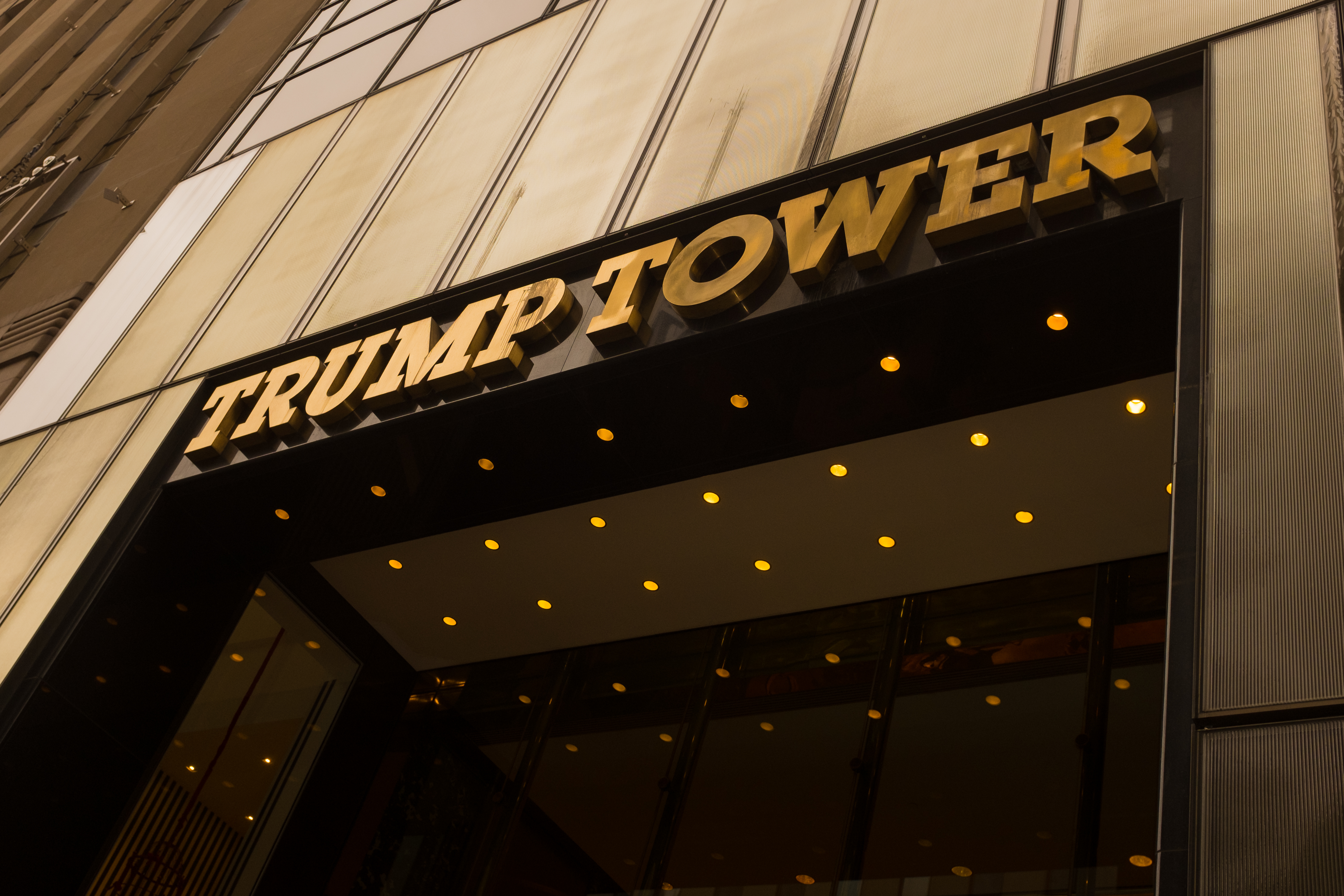 A general view of the signage above the entance to the Trump Tower on 21st January 2017 in midtown Manhattan, New York City