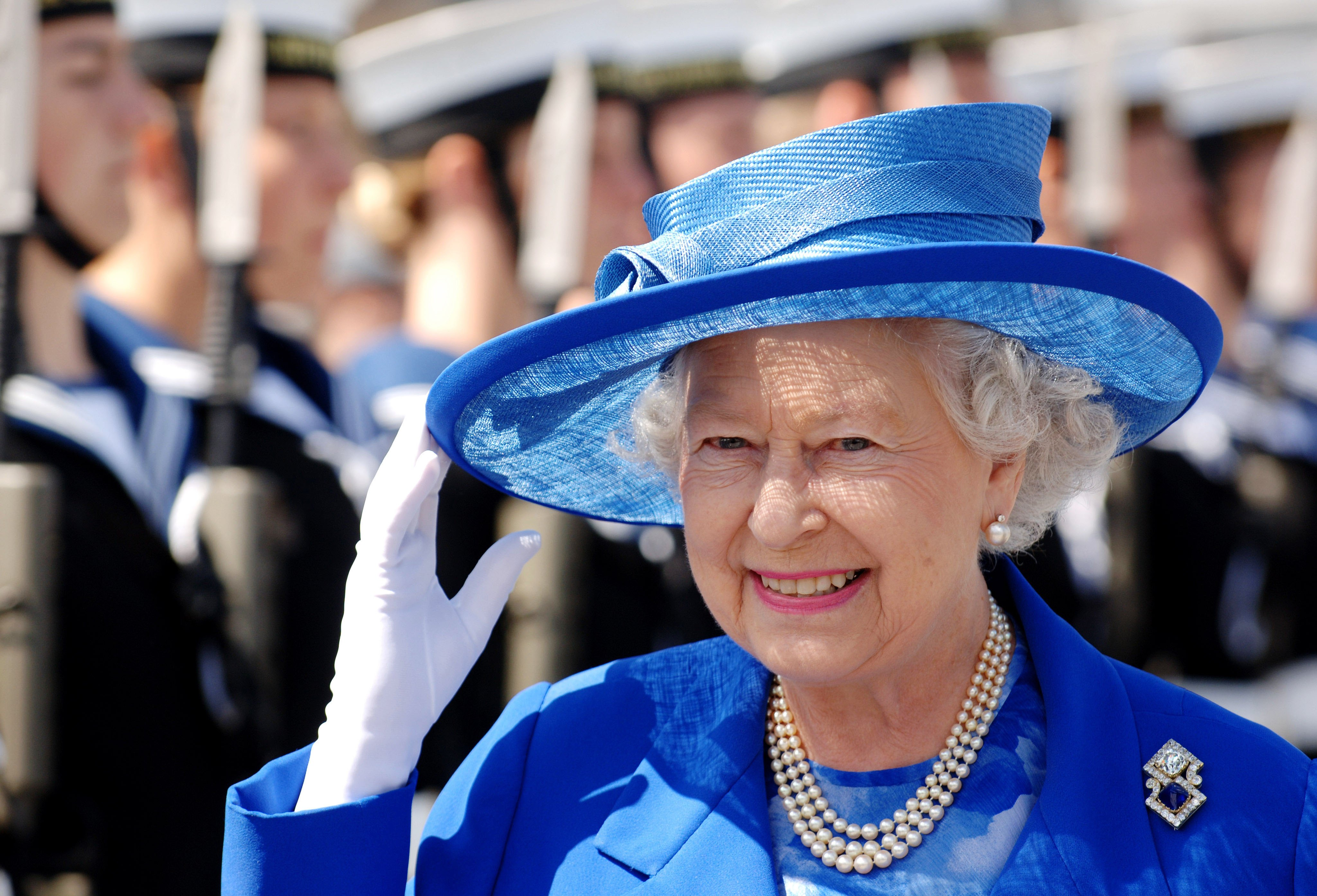 Queen Elizabeth II visits HMS Albion for the 250th anniversary of the Marine Society and Sea Cadets on July 14, 2006 in Greenwich, London, England.