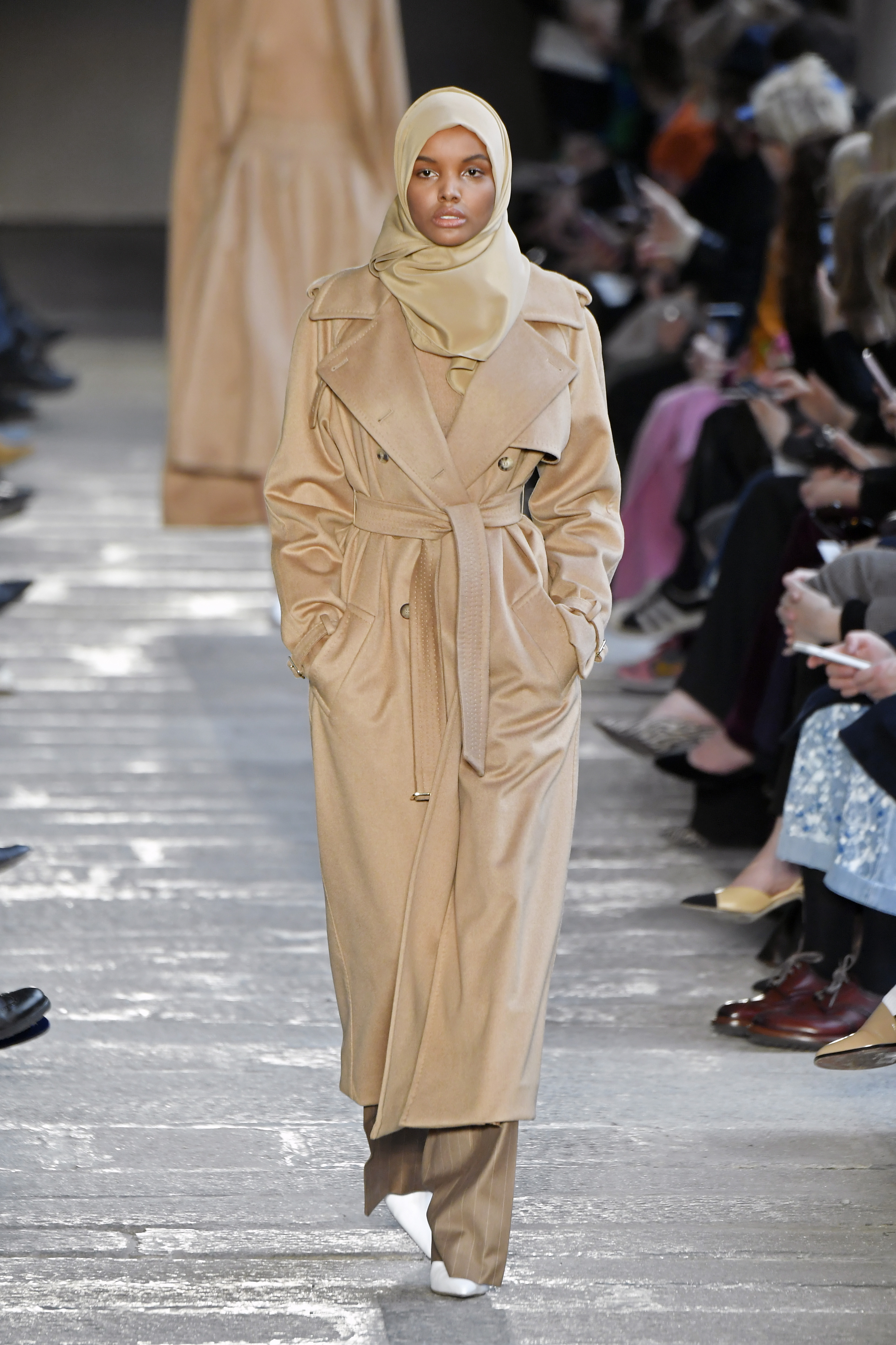 MILAN, ITALY - FEBRUARY 23: Halima Aden walks the runway at the Max Mara show during Milan Fashion Week Fall/Winter 2017/18 on February 23, 2017 in Milan, Italy. (Photo by Victor Boyko/Getty Images)