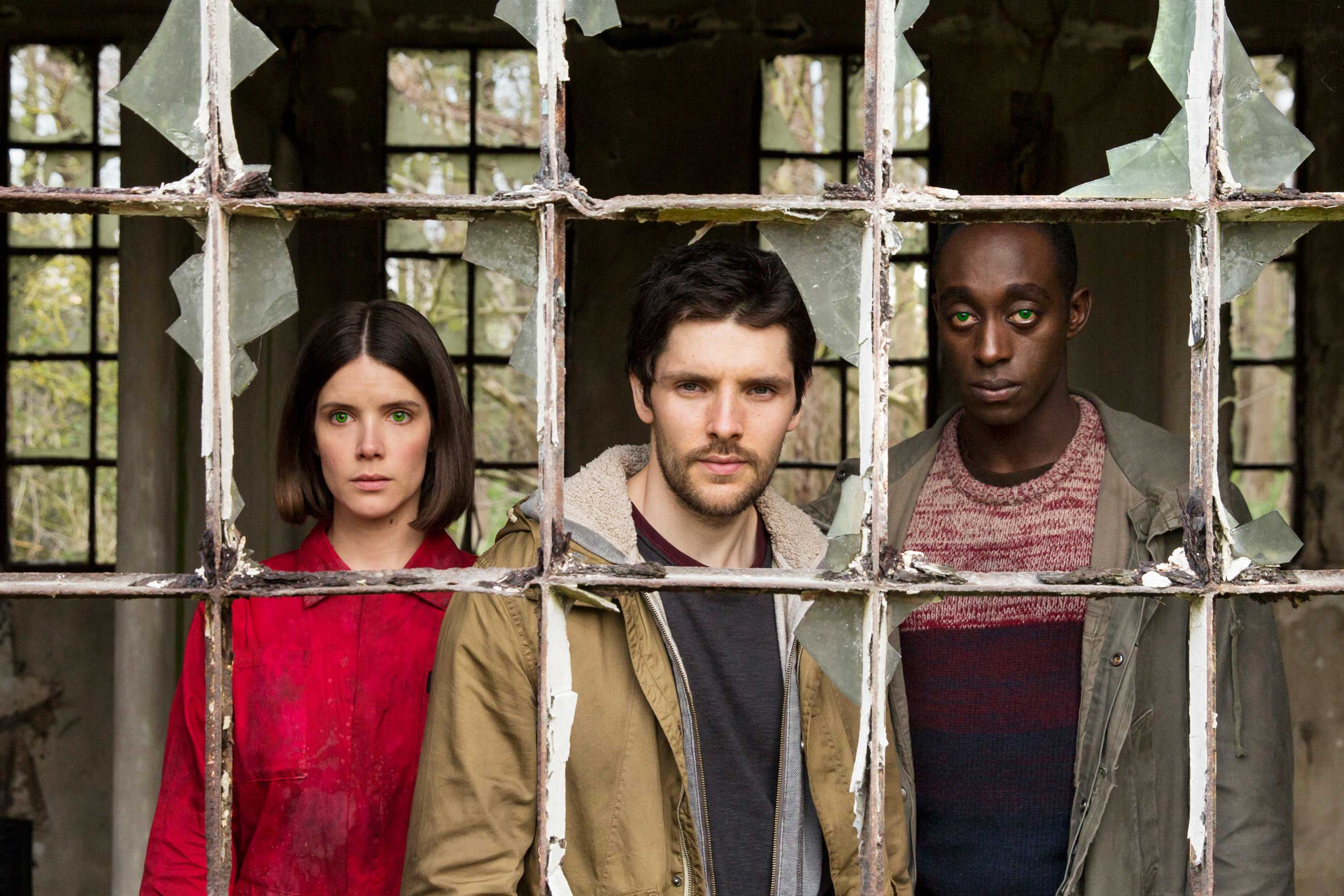 Sonya Cassidy as Hester, Colin Morgan as Leo, Ivanno Jeremiah as Maxin Humans on AMC.