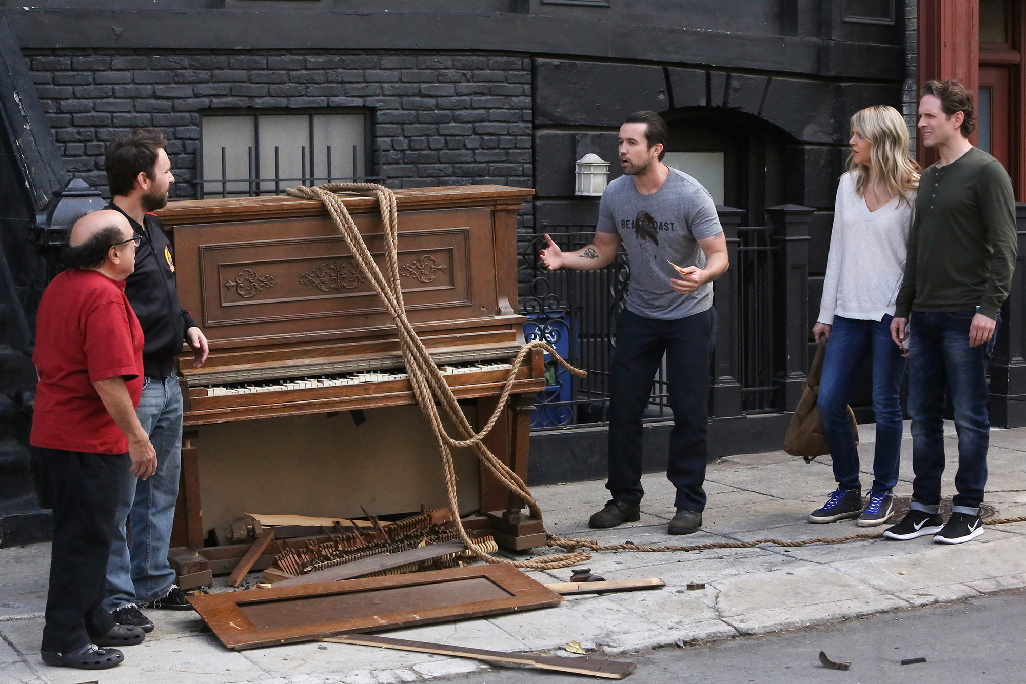 From left: Danny DeVito as Frank, Charlie Day as Charlie, Rob McElhenney as Mac, Kaitlin Olson as Dee, and Glenn Howerton as Dennis in It's Always Sunny In Philadelphia.