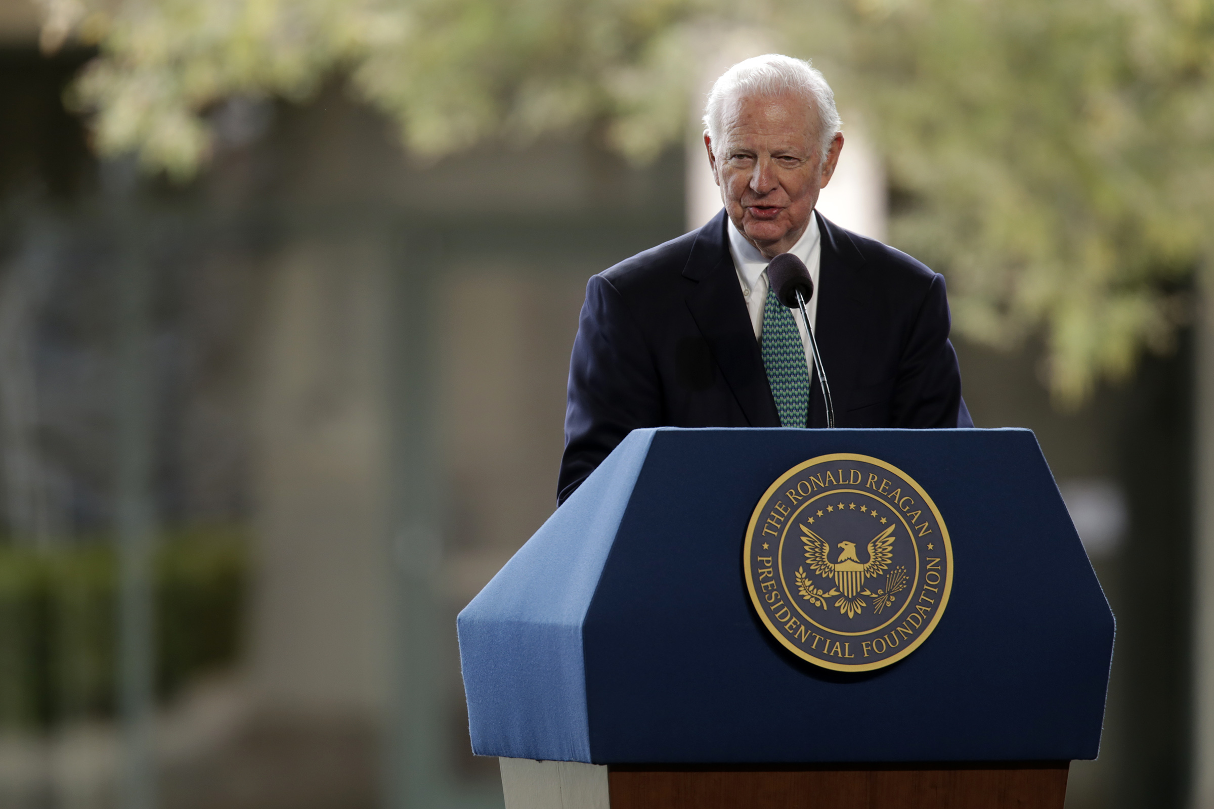 Former Secretary of  State James Baker speaks at the funeral of former First Lady Nancy Reagan on March 11, 2016 in Simi Valley, California. Baker is leading an effort to advocate for a carbon tax.
