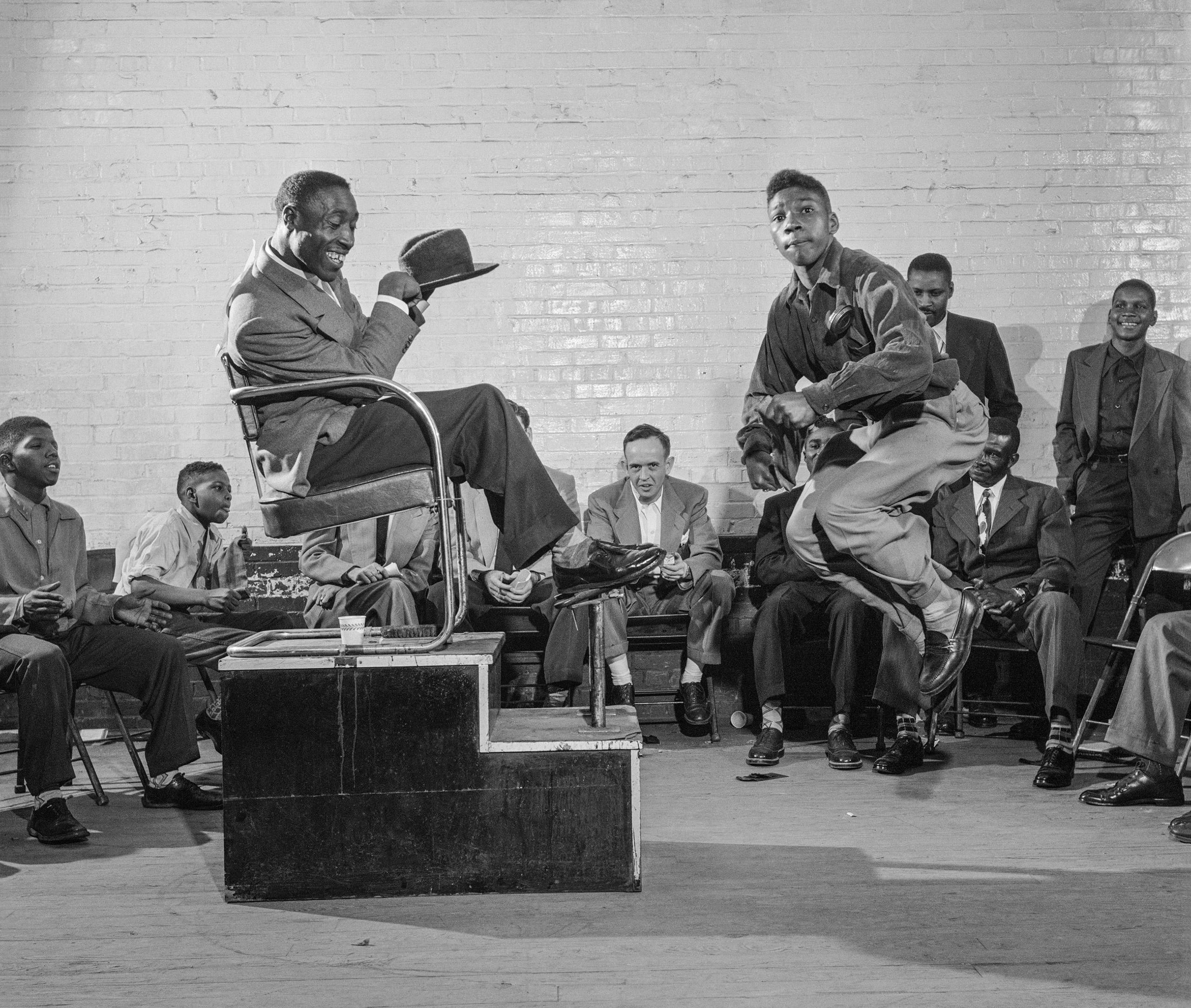 Shoeshine contest, Wilson, North Carolina, 1952.