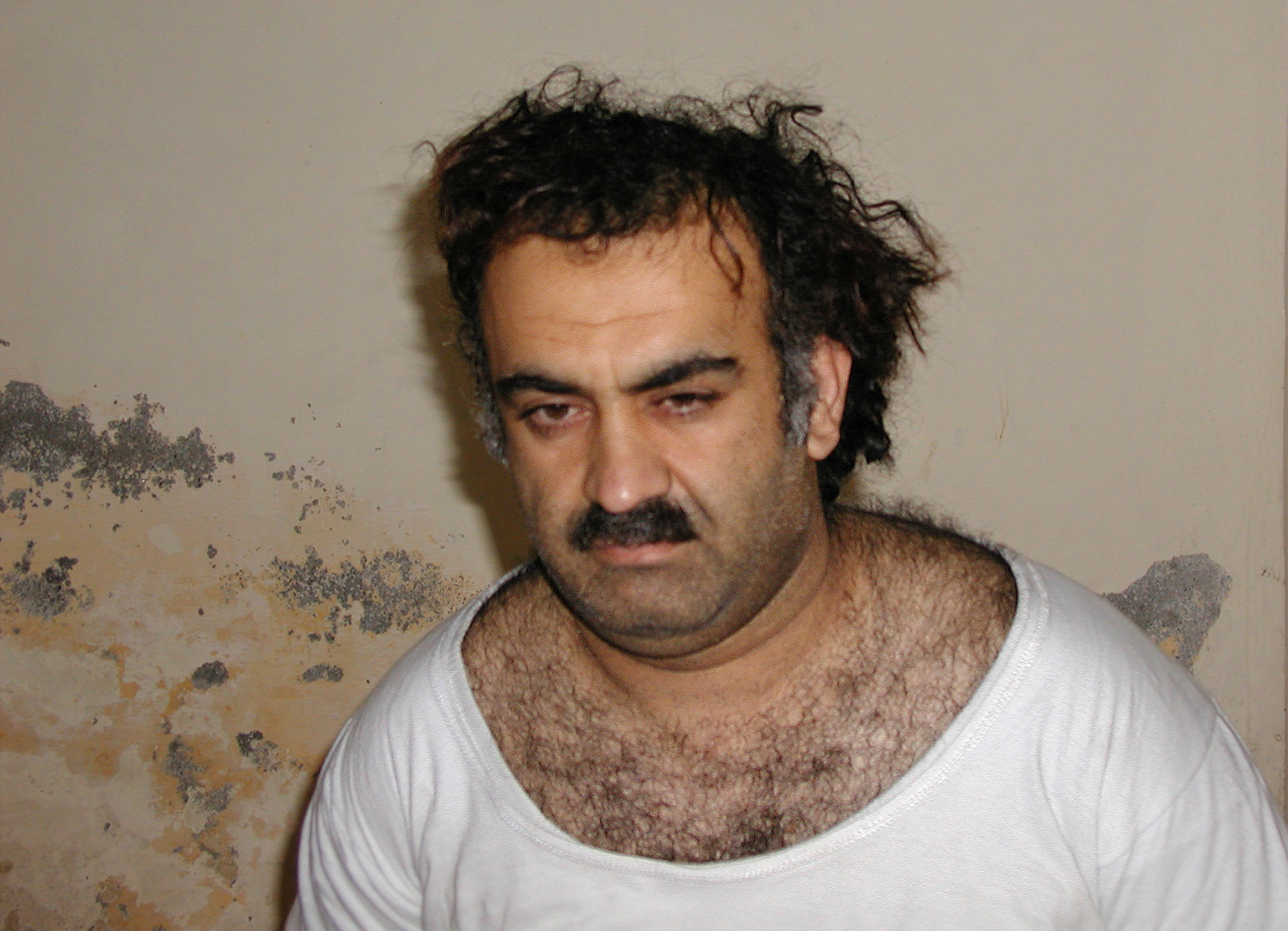 Khalid Sheikh Mohammed, al-Qaida's No.3, operational leader, and alleged September 11 2001 mastermind, is seen shortly after his CIA capture during a raid in Pakistan.