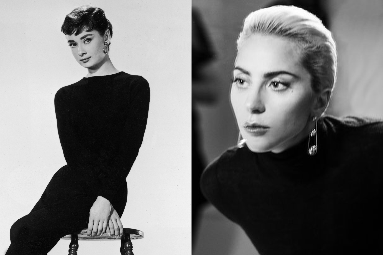 Audrey Hepburn, 1954; Lady Gaga, 2017.