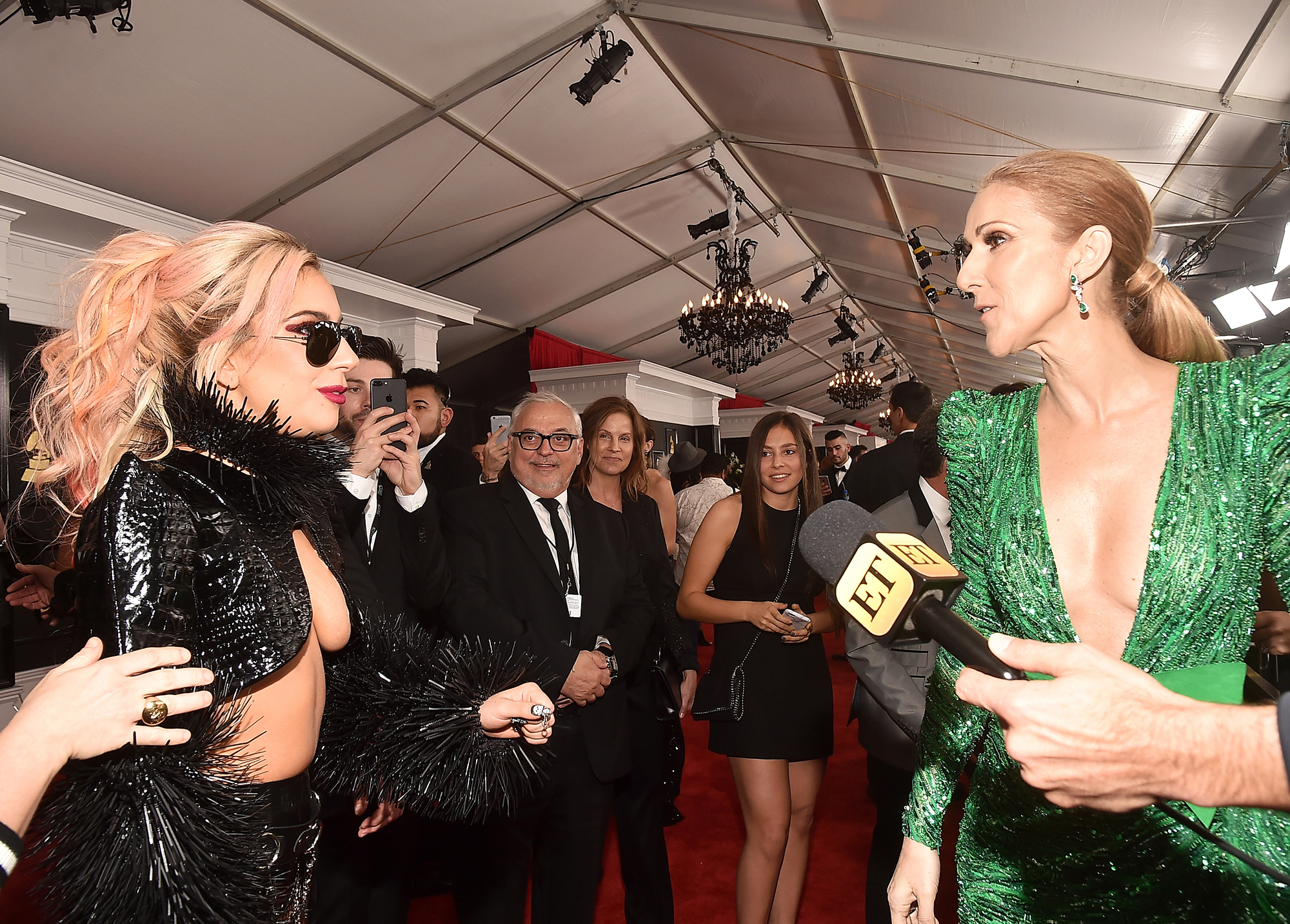 Lady Gaga and Celine Dion attend the 59th GRAMMY Awards at STAPLES Center, on Feb. 12, 2017 in Los Angeles.